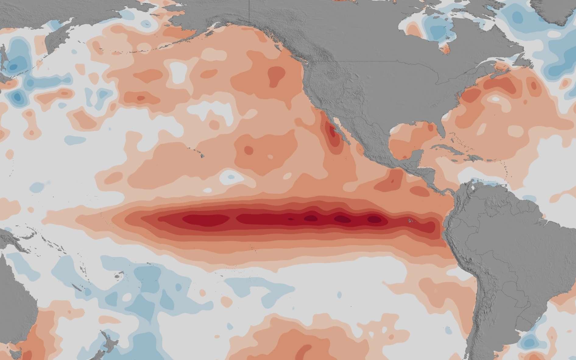 Les températures de la surface de l'océan Pacifique mettent en évidence clairement le phénomène météorolique El Niño, en 2015-2016. © Nasa