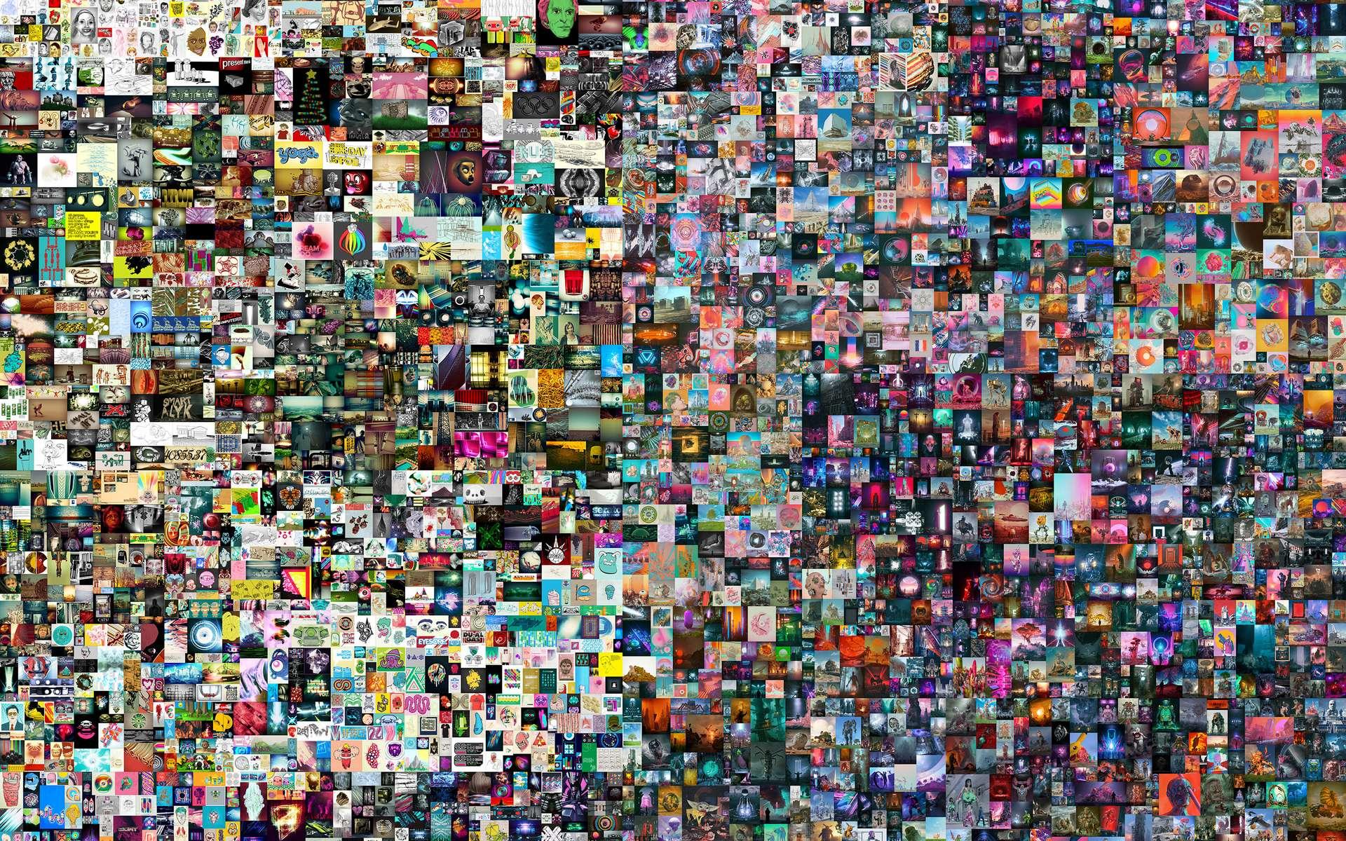 Everydays : the First 5.000 Days, le titre d'un collage de 5.000 images numériques s'est vendu aux enchères chez Christie's pour la somme astronomique de 69,3 millions de dollars. © Mike Winkelmann, alias Beeple