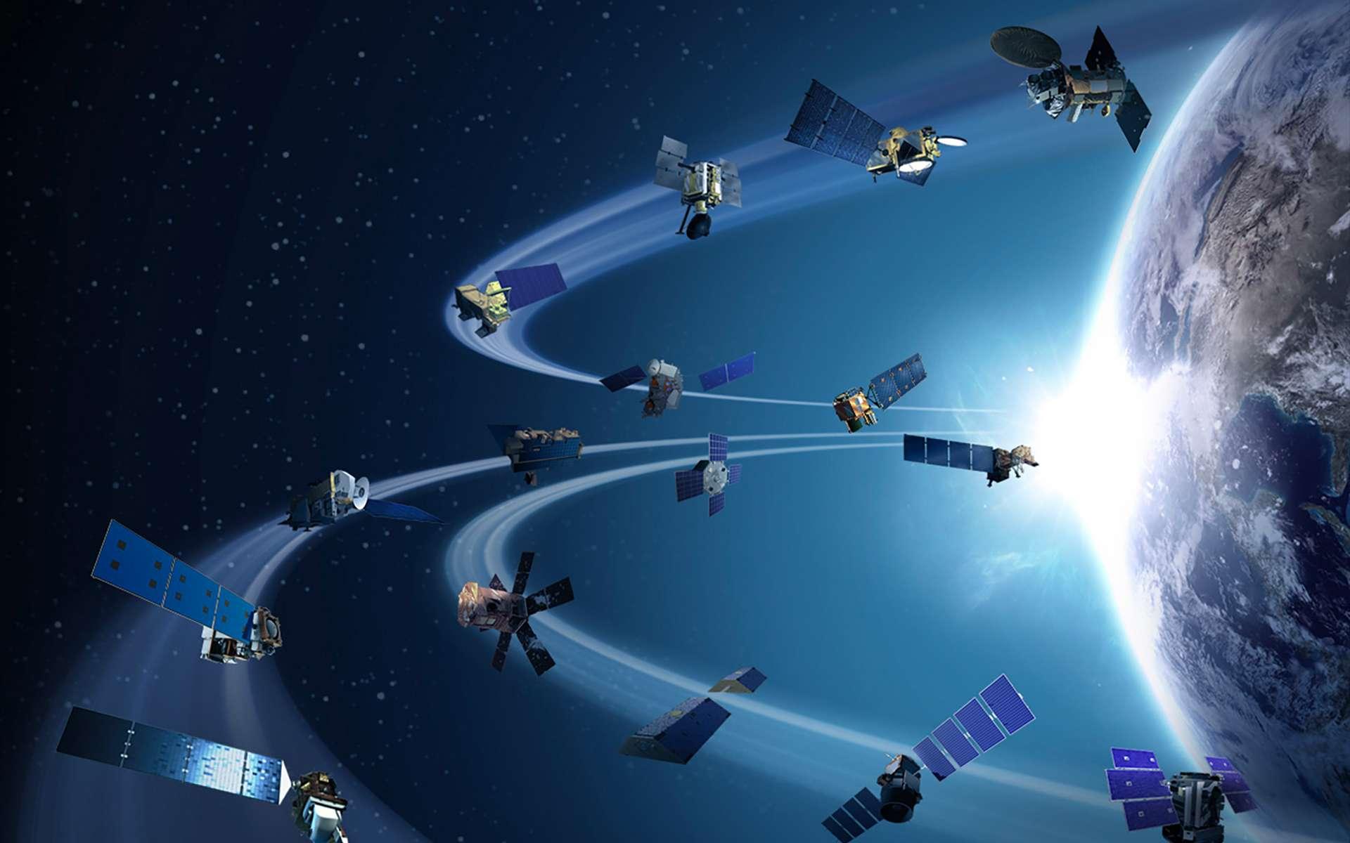 Des orbites de plus en plus occupées, voire encombrées, augmentent les risques de collision entre satellites des uns et des autres. © Nasa