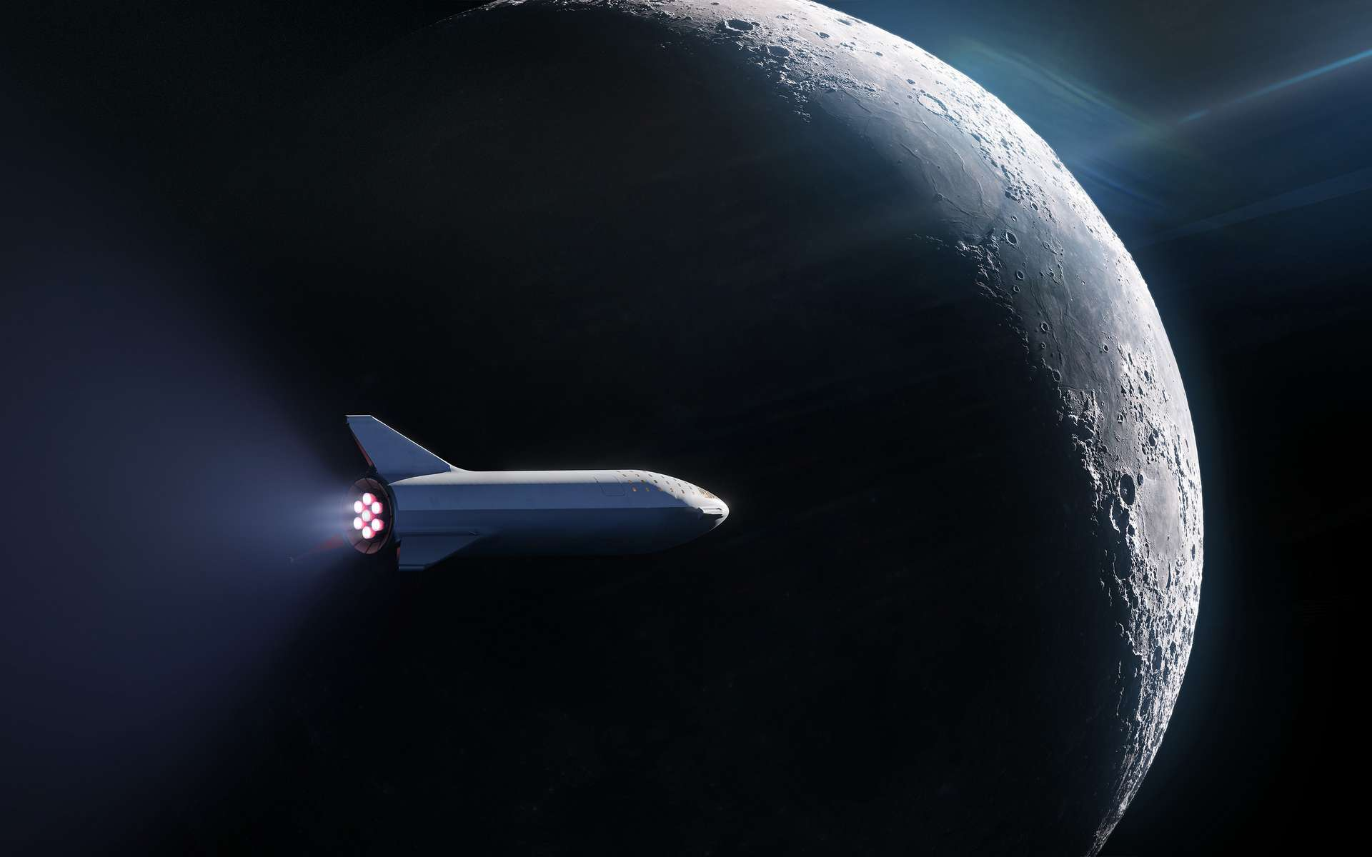 Le voyage vers la Lune auquel prendra part l'équipage du milliardaire japonais Yusaku Maezawa fera le tour de la Lune avant de revenir sur Terre. © SpaceX