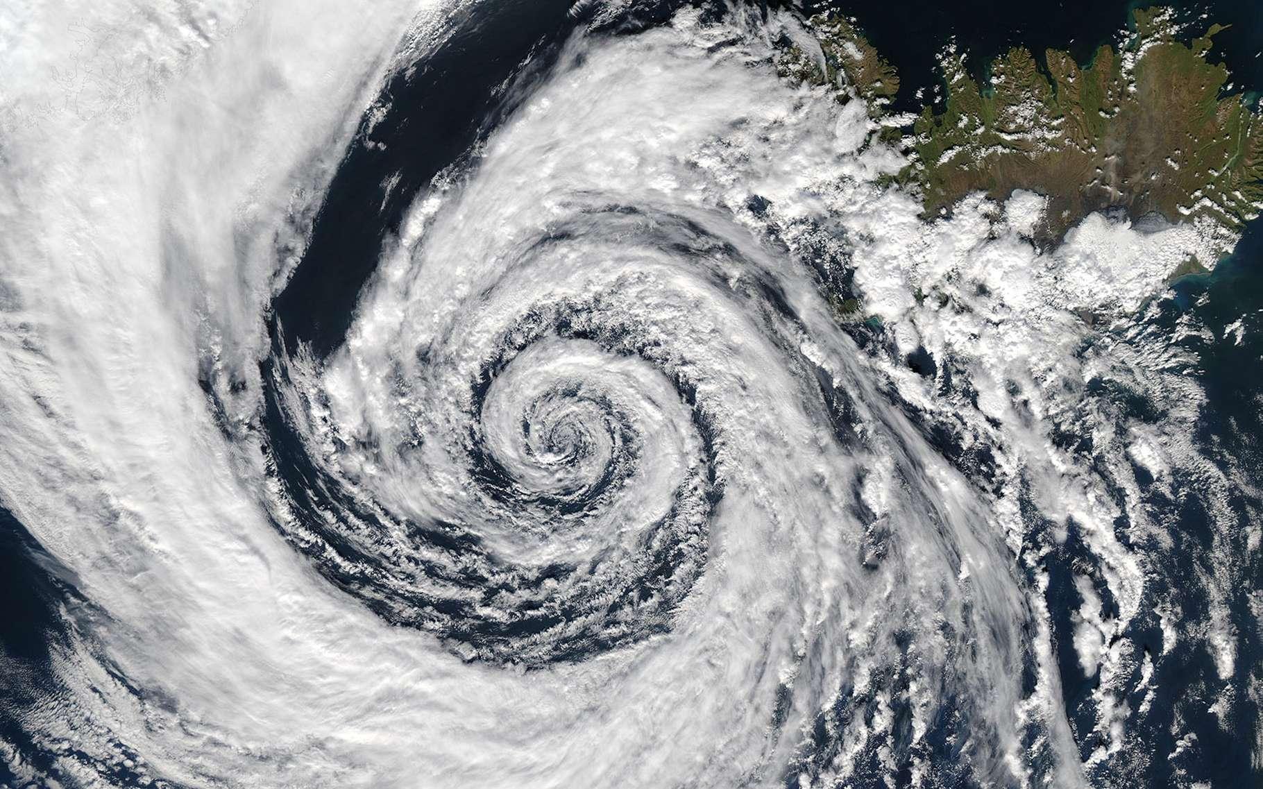 L'effet de Coriolis visible dans l'atmosphère terrestre. © NASA's Aqua, MODIS