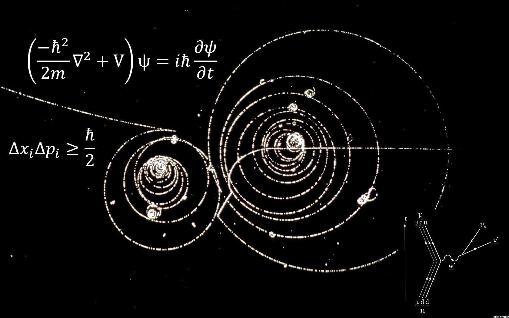 On voit ici deux des plus célèbres équations gouvernant le monde quantique. C'est l'équation de Schrödinger (en haut), célèbre en mécanique quantique, avec en dessous l'une des inégalités de Heisenberg. L'image de fond est celle de particules spiralant dans une chambre à bulles plongée dans un champ magnétique. En bas à droite, un diagramme de Feynman illustre la désintégration bêta d'un neutron (n) en proton (p). © www.wallchan.com