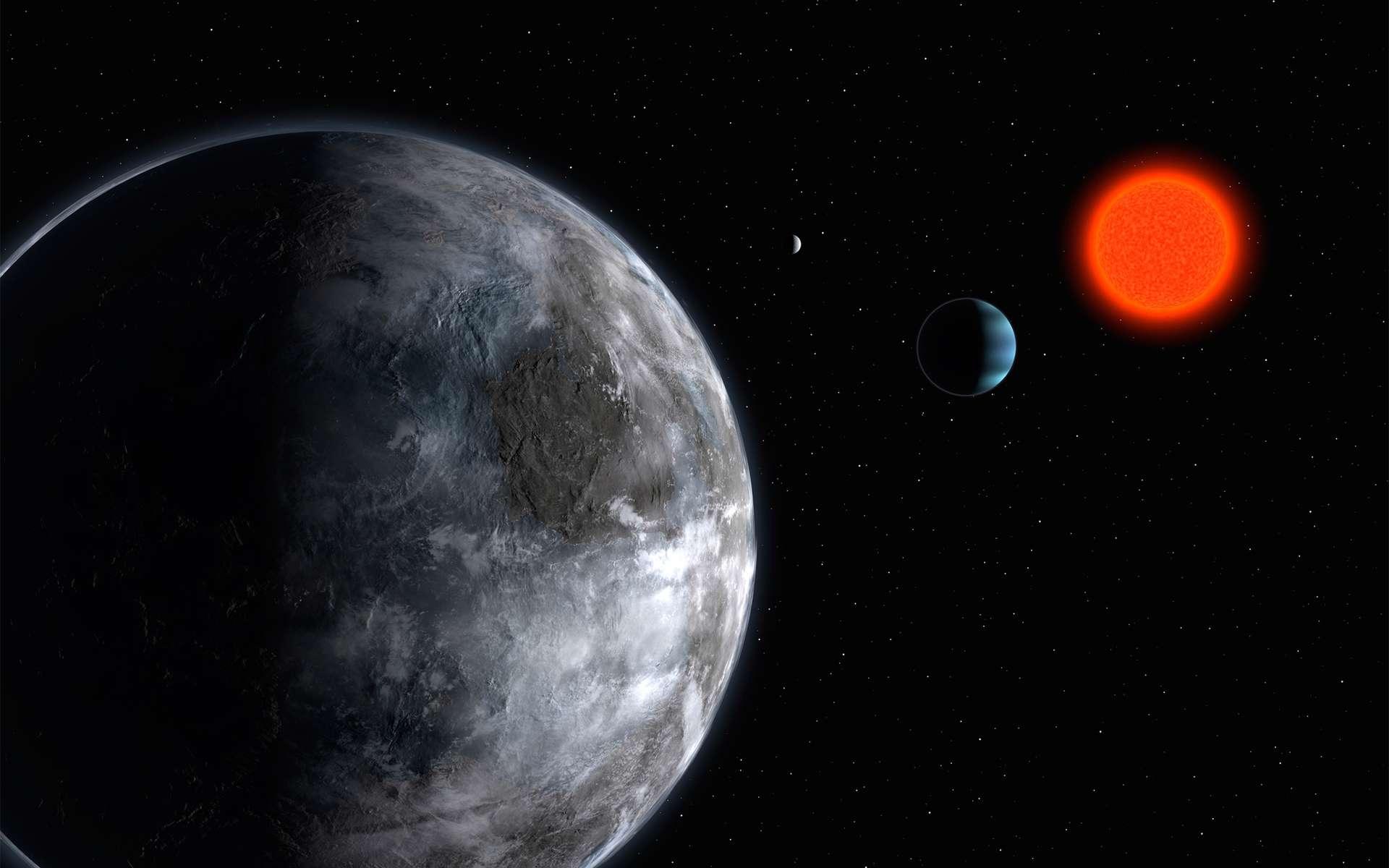 Vue d'artiste de l'exoplanète Gliese 581, découverte par le spectromètre Harps, aujourd'hui supplanté par Expresso. © ESO