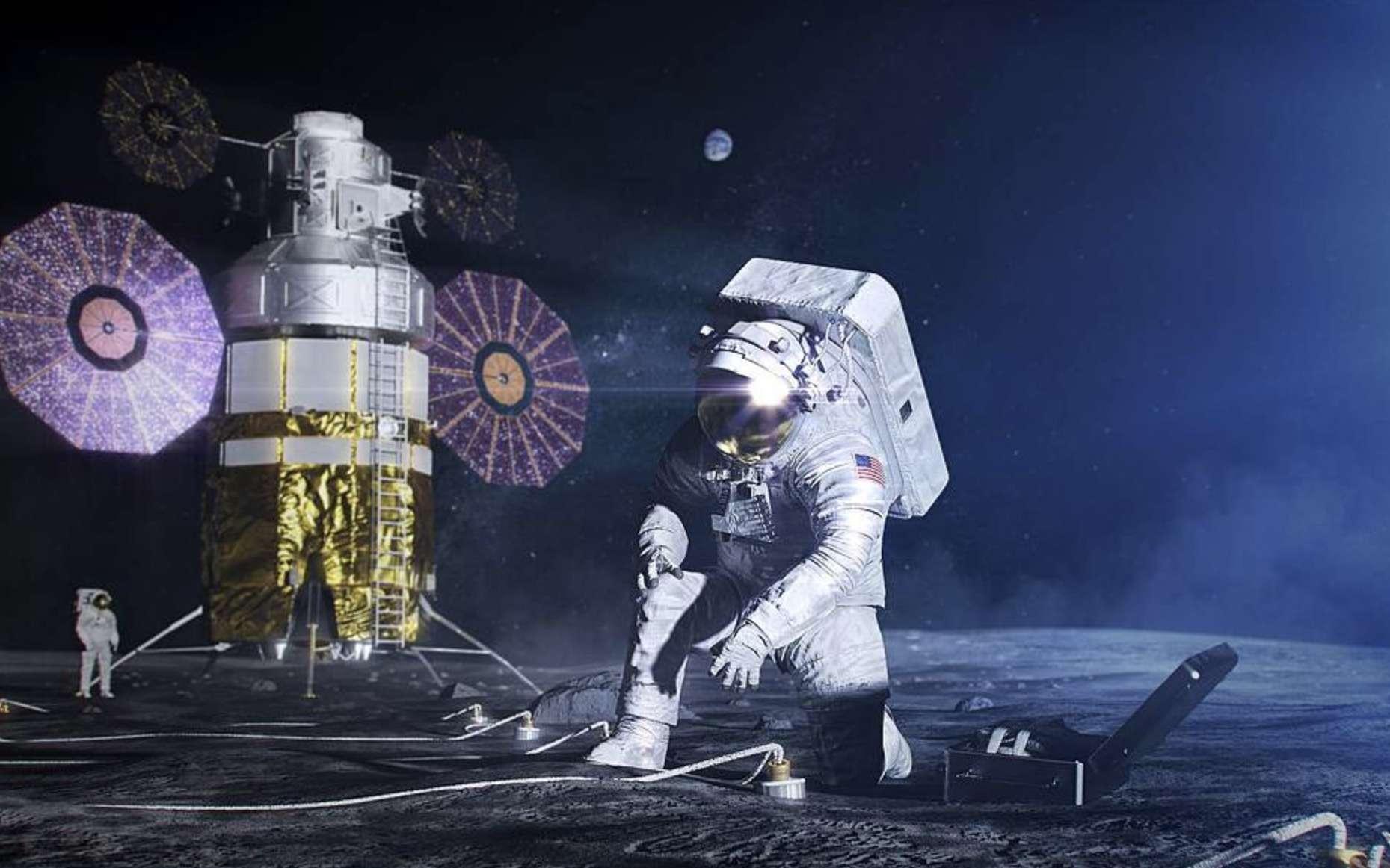 Concept d'artiste d'un astronaute dans la combinaison spatiale xEMU mettant en place une expérience scientifique sur la surface lunaire. © Jason Roberts, Nasa