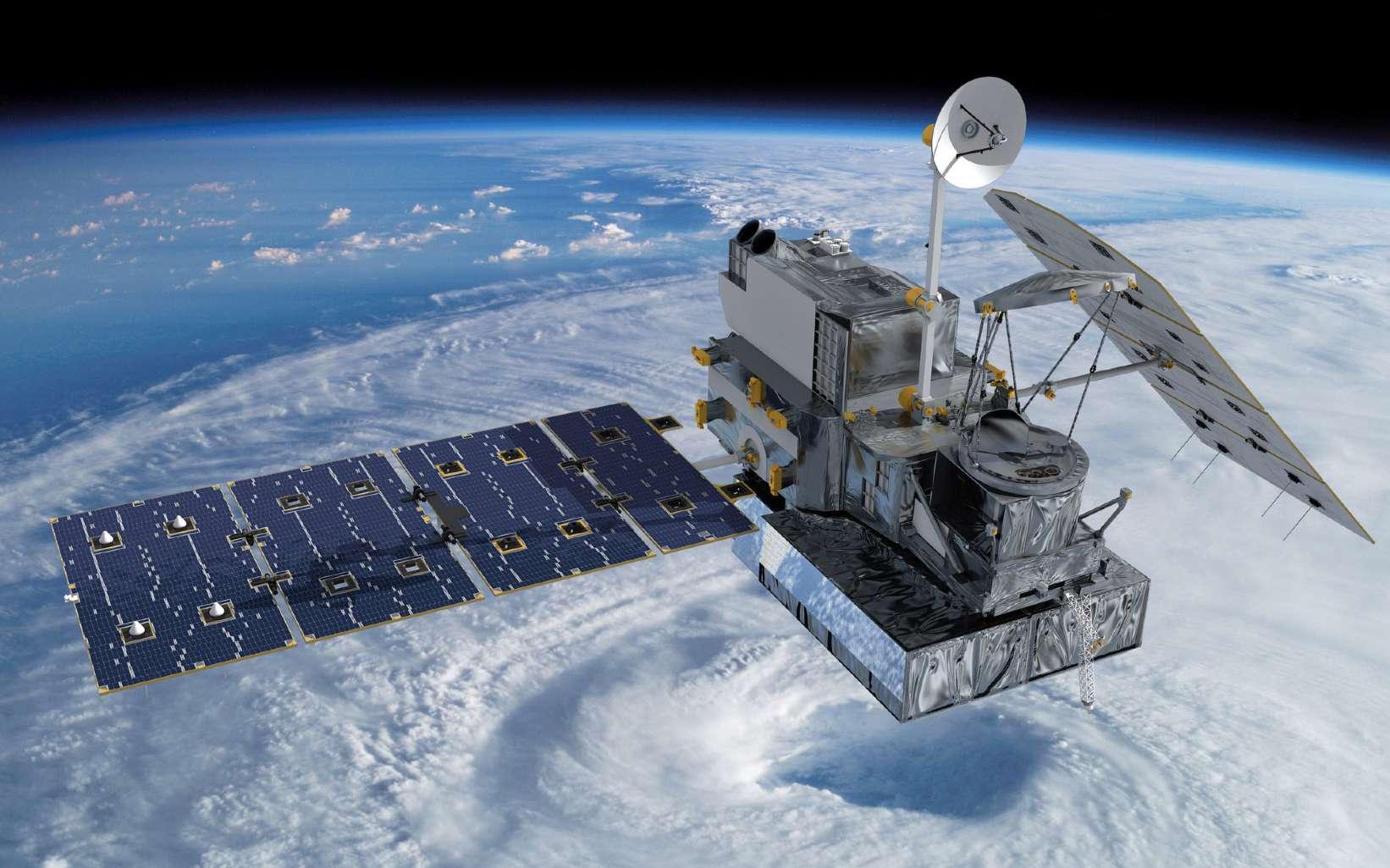 D'une masse au lancement de 3.850 kg, GPM Core Observatory sera capable de suivre les précipitations des zones qu'il survole, par observation radar et en micro-ondes. Avec d'autres satellites chargés de tâches semblables, il participera à l'étude de l'atmosphère et du climat terrestre. © Nasa