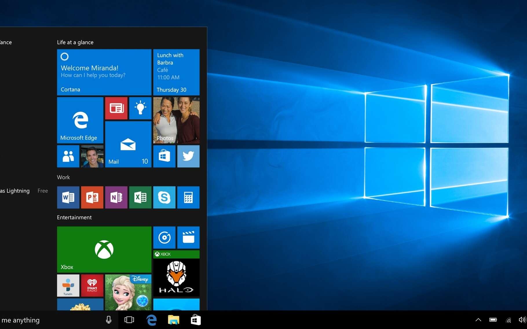 Ce n'est pas la première fois que Microsoft intègre de la publicité dans Windows 10. Cela se fait déjà dans le menu Démarrer ainsi que dans l'écran de verrouillage du système d'exploitation. © Microsoft