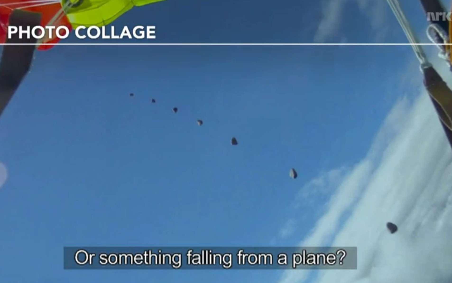 Un photomontage montrant, sur la vidéo, l'image de la météorite au moment du passage près du parachutiste. La vitesse serait d'environ 300 km/h et sa masse d'à peu près 5 kg. © NRK
