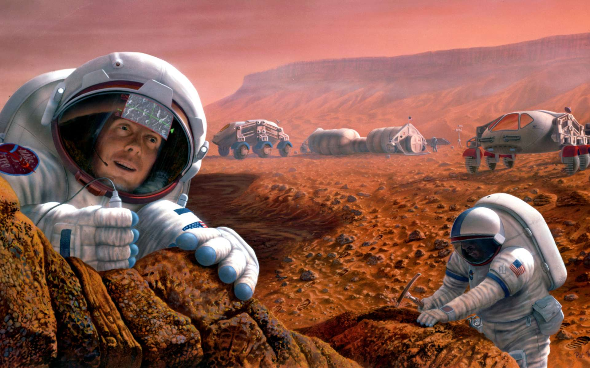 À moins de trouver une martingale, l'idée d'envoyer des Hommes sur la Planète rouge avant la fin de cette décennie est irréalisable. Bien que la technologie existe pour le faire, l'assembler et la tester pour une mission martienne nécessite un certain nombre d'années et le financement adéquat. © Nasa, Johnson Space Center