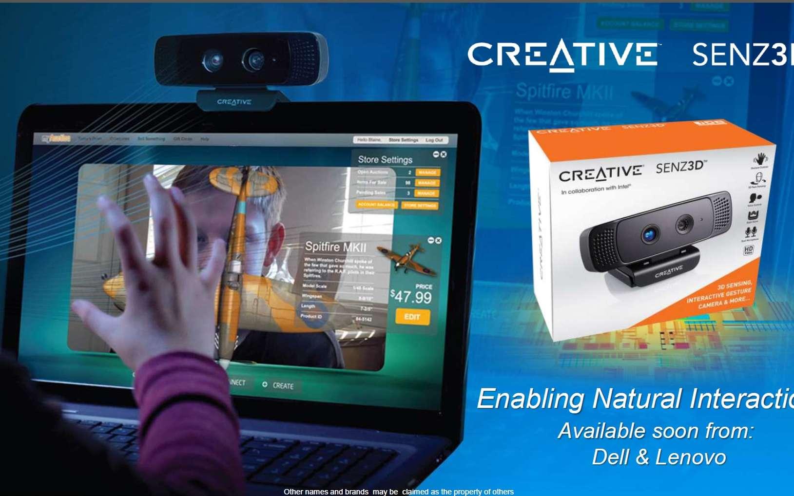 Vendue 149 dollars aux seuls développeurs, la SENZ3D d'Intel, avec son kit SDK, leur permet de créer des applications tirant profit des capacités de la caméra. Intel estime qu'il sera capable d'équiper les écrans des ordinateurs portables de ce dispositif d'ici un an et demi. © Intel