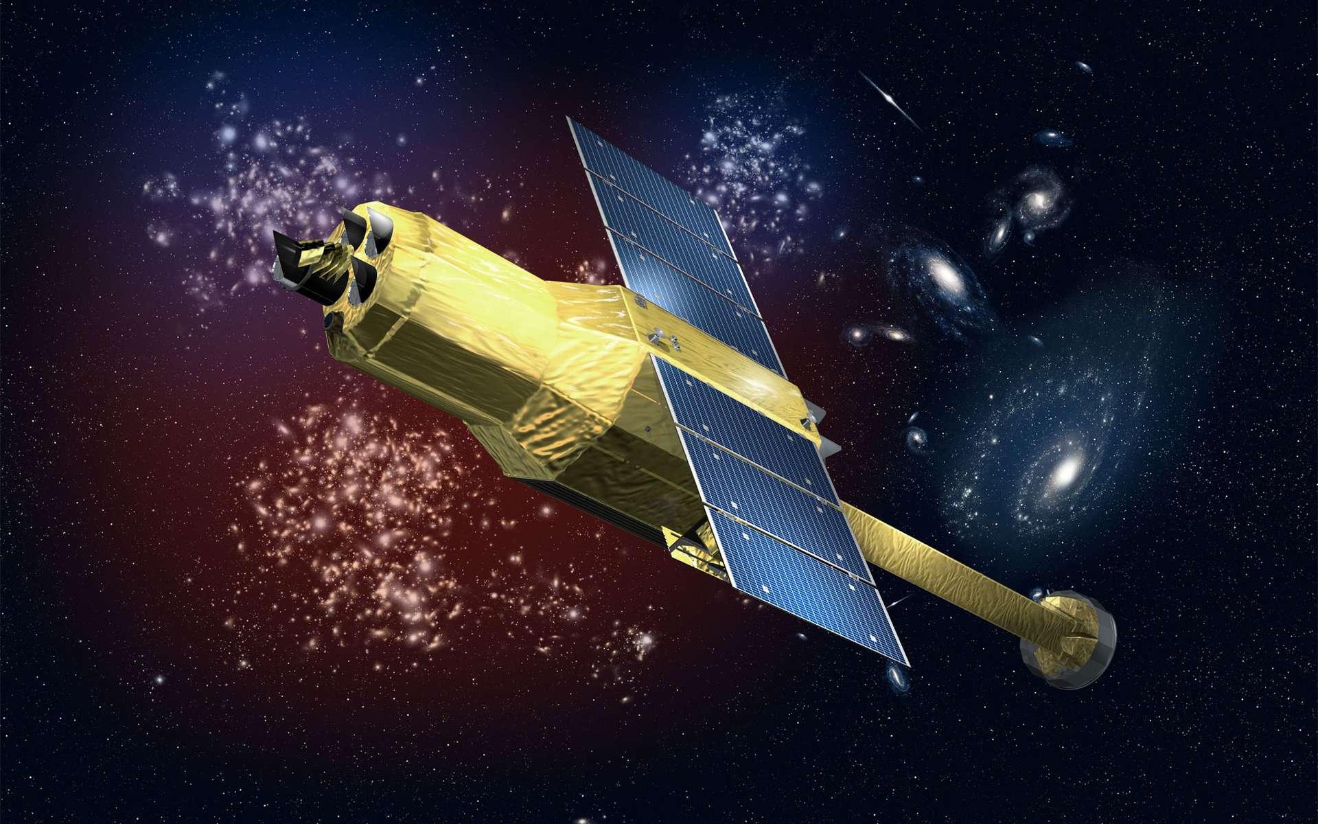Hitomi a pour objectif scientifique l'observation et l'étude de l'univers chaud et énergétique, notamment l'étude des grandes structures de l'univers dont le gaz chaud situé dans les amas de galaxies et son interaction avec la matière noire. © Jaxa