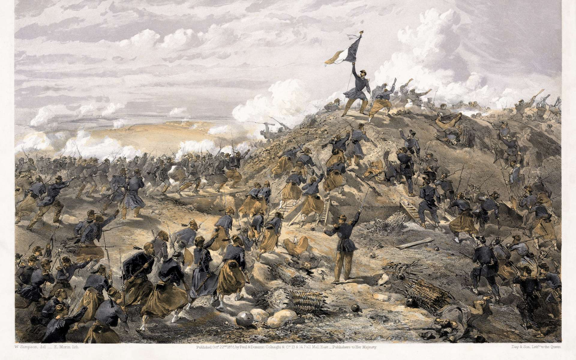 L'attaque de Malakoff, durant le siège de Sébastopol, a été l'un des événements marquants de la guerre de Crimée. © William Simpson, Wikimedia Commons, DP