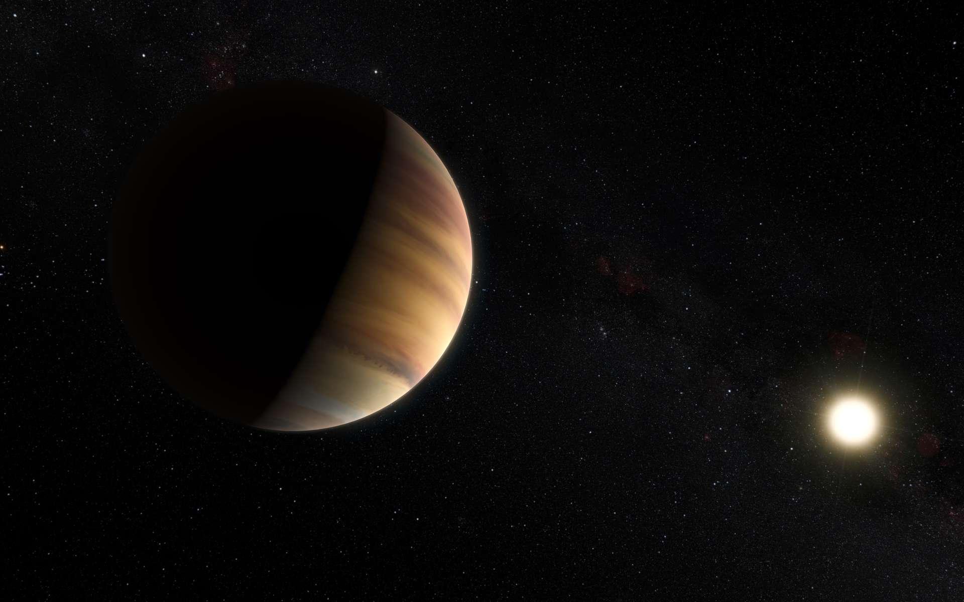 Vue d'artiste de 51 Pegasi b alias Dimidium. Il s'agit de la toute première exoplanète découverte autour d'une étoile ordinaire, en l'occurrence un soleil visible à l'œil nu dans la constellation de Pégase, à quelque 50 années-lumière de la Terre. En orbite très rapprochée, elle fut le premier cas détecté de Jupiter chaud. © Eso, M. Kornmesser, Nick Risinger (skysurvey.org)