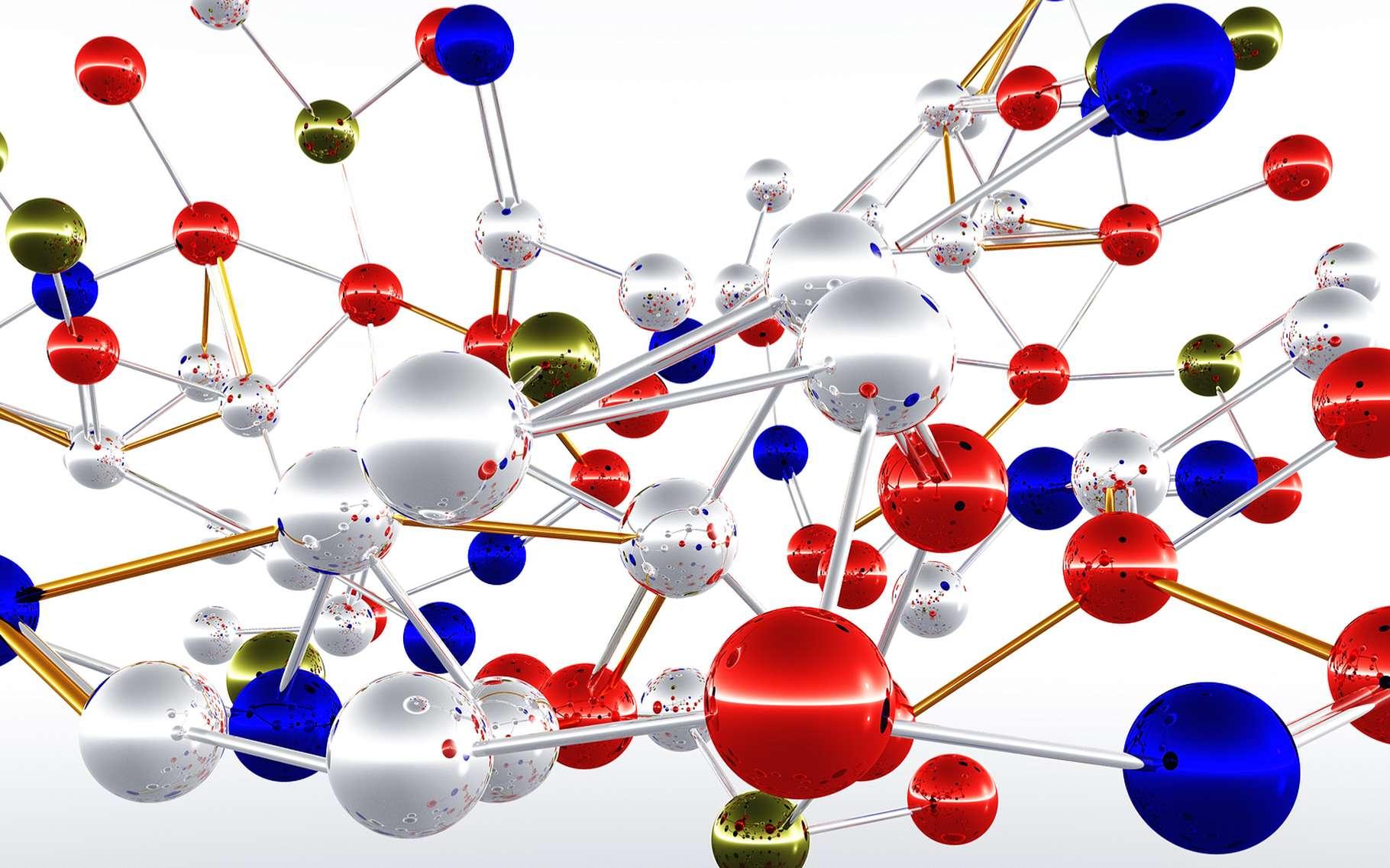 Sur cette représentation, les sphères figurent des atomes et les barres qui les relient, autant de liaisons covalentes. © boscorelli, Shutterstock