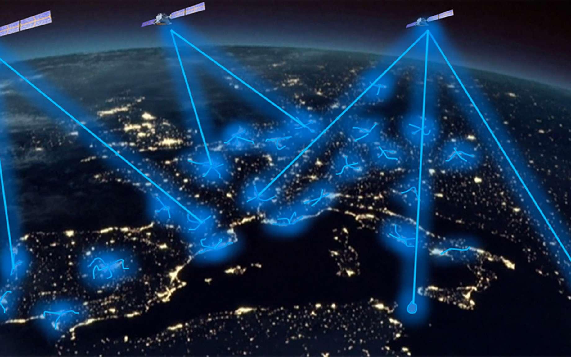 La future infrastructure de télécommunications quantiques européenne s'appuiera sur un réseau terrestre de fibre optique et une constellation de satellites. © Thales