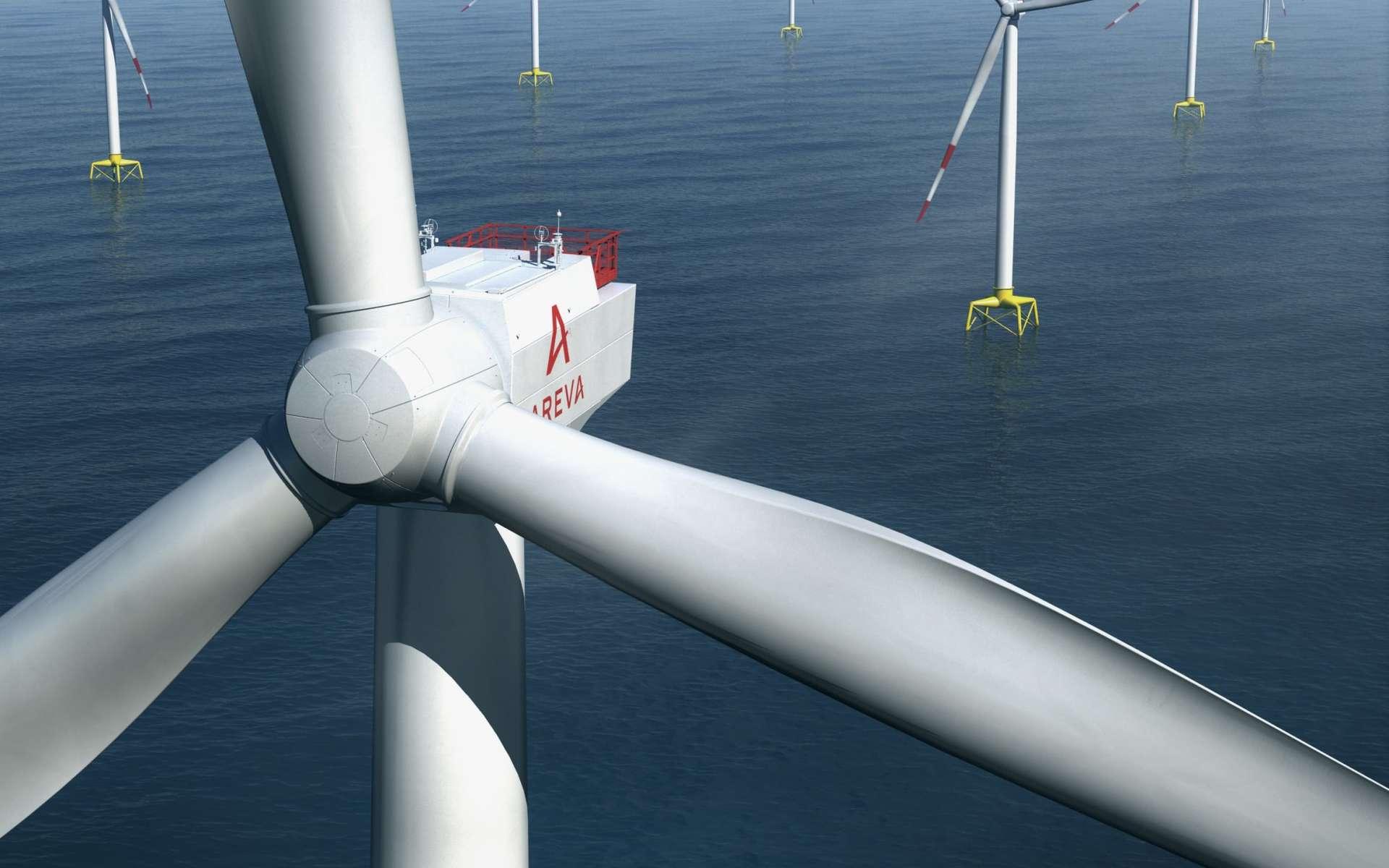Un champ d'éoliennes fabriquées par Areva, chacune ayant une puissance de 8 MW. Il ne s'agit bien sûr que d'un dessin qui préfigure ce que seront les deux sites des futurs chantiers, l'un près du Tréport et l'autre entre l'île d'Yeu et celle de Noirmoutier. © Areva, Dikdak