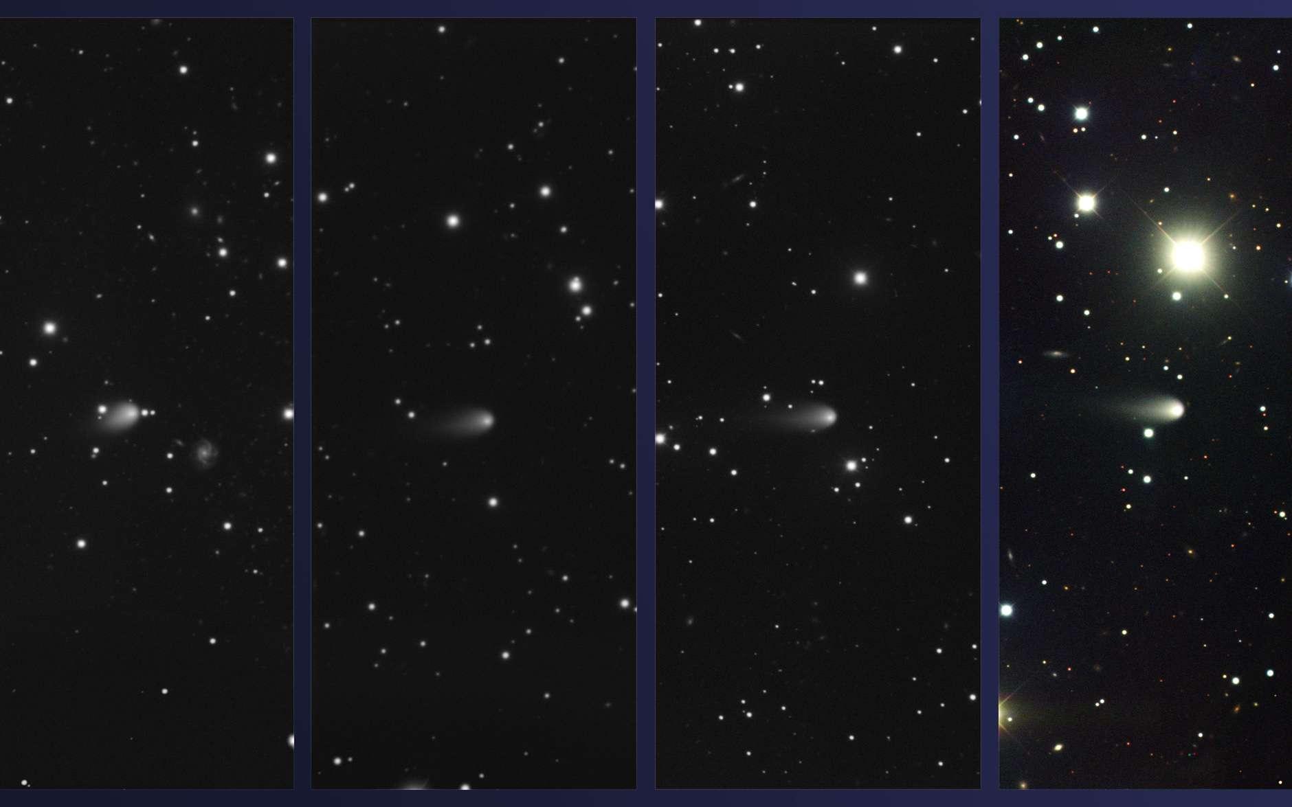 Ces 4 images ont été réalisées par le spectrographe multi-objets qui équipe le télescope Gemini nord de 8,1 m de diamètre. Elles montrent la comète Ison les 4 février, 4 mars, 3 avril et 4 mai 2013. L'éclat de la comète est environ de magnitude 16, alors qu'elle se trouve au niveau de l'orbite de Jupiter. © Gemini Observatory, Aura
