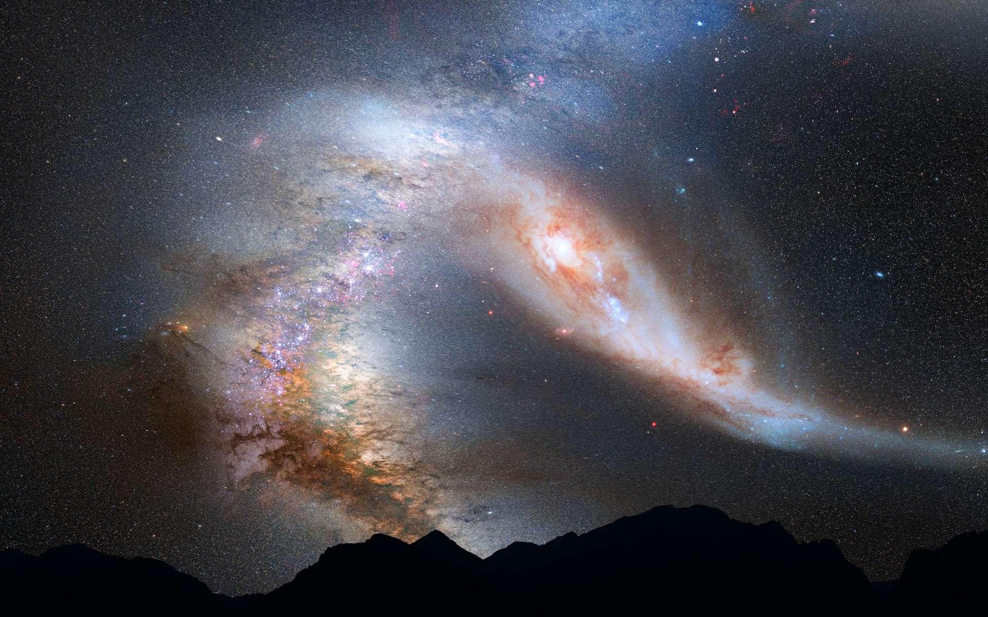 Illustration de la collision entre la Voie lactée et sa grande rivale Andromède, vue de la Terre (ce qu'il en restera) dans 4 milliards d'années. © Nasa