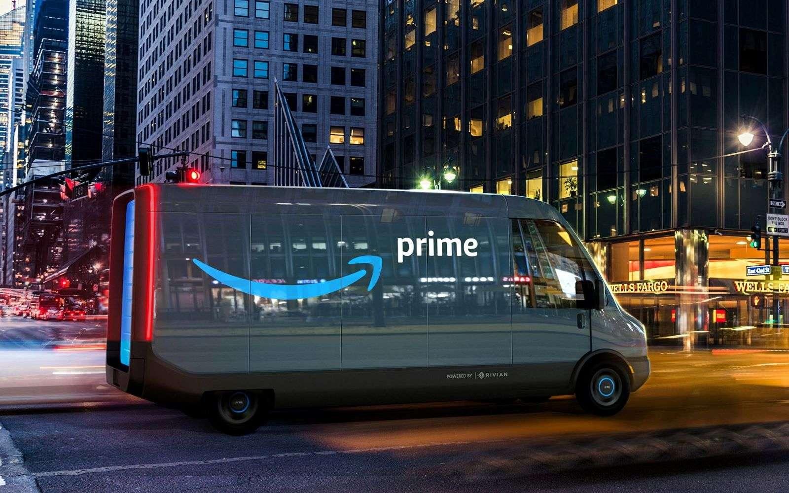 Voici la première photo des véhicules 100 % électriques qu'Amazon a commandés à Rivian. © Electrek
