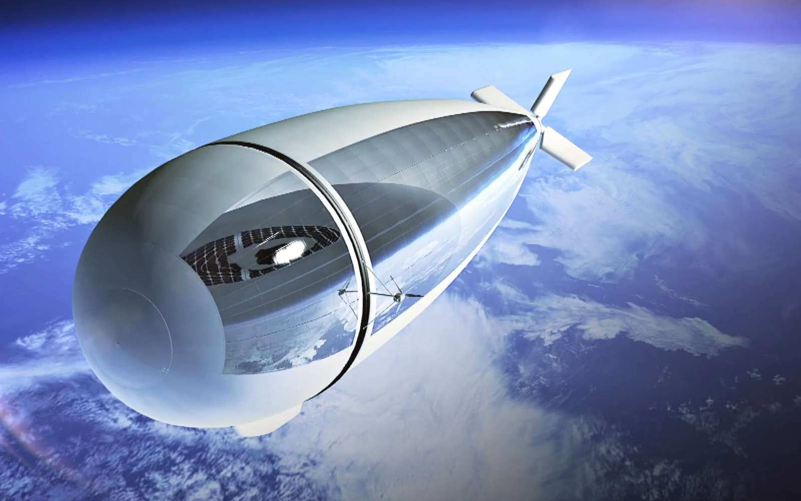 Le projet de plateforme stratosphérique Stratobus intéresse fortement la Direction générale de l'armement (DGA), ce qui laisse à penser qu'il a de fortes chances de voir le jour. Thales estime qu'une filière industrielle pourrait être créée d'ici cinq ans. © Thales Alenia Space, Master Image Productions