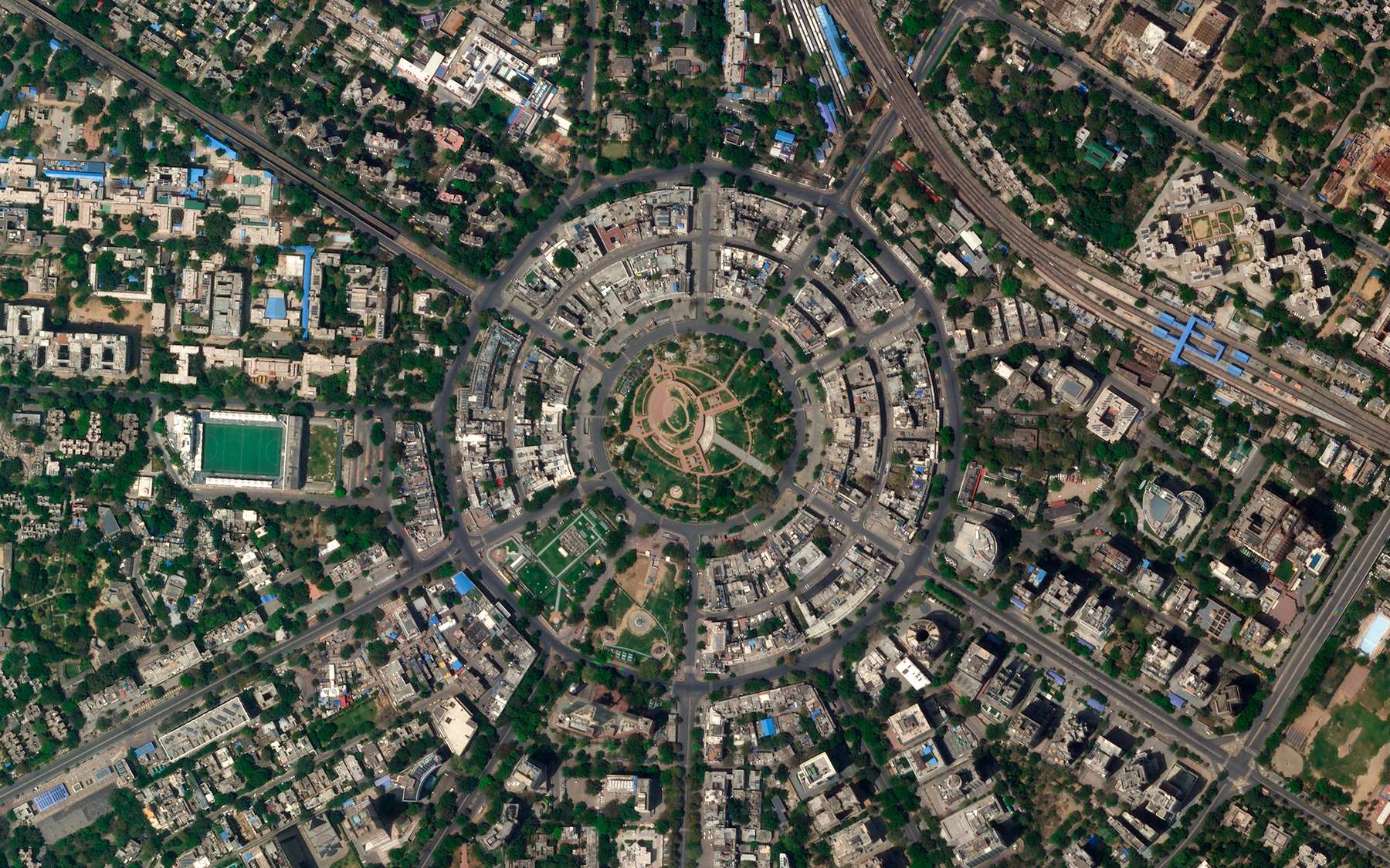 New Delhi, à l'heure du confinement. © 2020 Planet Labs, Inc