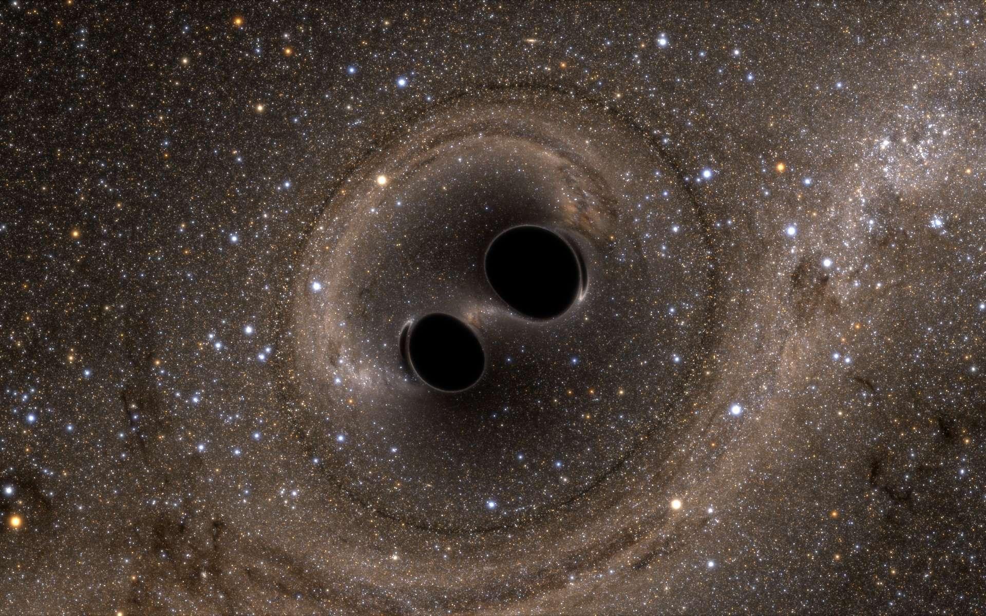 Ligo, l'acronyme de Laser Interferometer Gravitational-Wave Observatory, en anglais, nous a permis de détecter l'onde gravitationnelle produite par la collision puis la fusion de deux trous noirs d'environ 30 masses solaires chacun. Mais à quoi aurait ressemblé visuellement l'événement pour des observateurs à quelques milliers de kilomètres ? Des simulations numériques nous permettent de le découvrir. L'image ci-dessus, avec des effets de lentille gravitationnelle, est extraite de l'une d'elles. © SXS (Simulating eXtreme Spacetimes project)