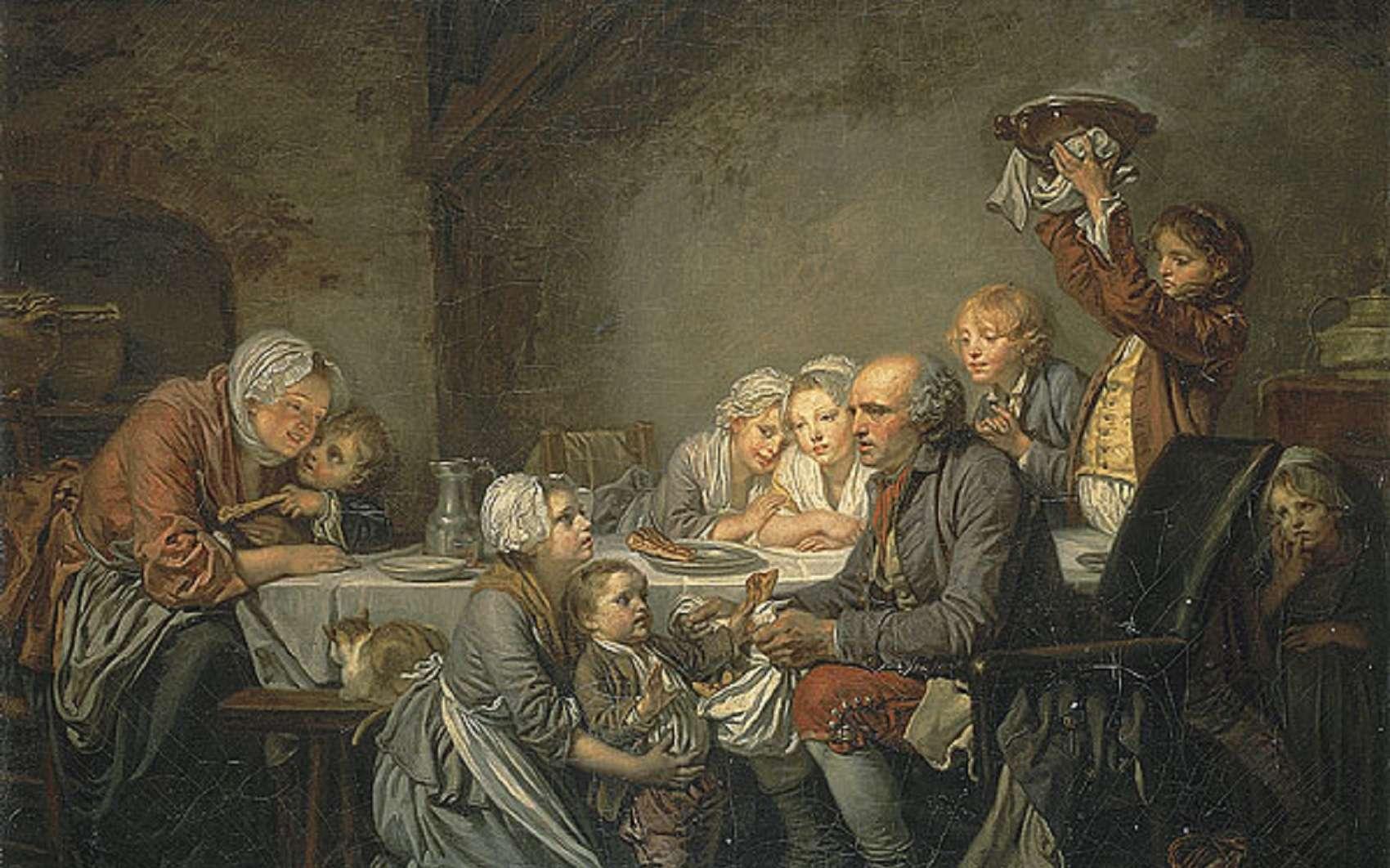 Tableau de Jean-Baptiste Greuze peint en 1774 : Le gâteau des rois. Représentation d'une famille de paysans aisés au XVIIIe siècle. © Musée Fabre, Montpellier.
