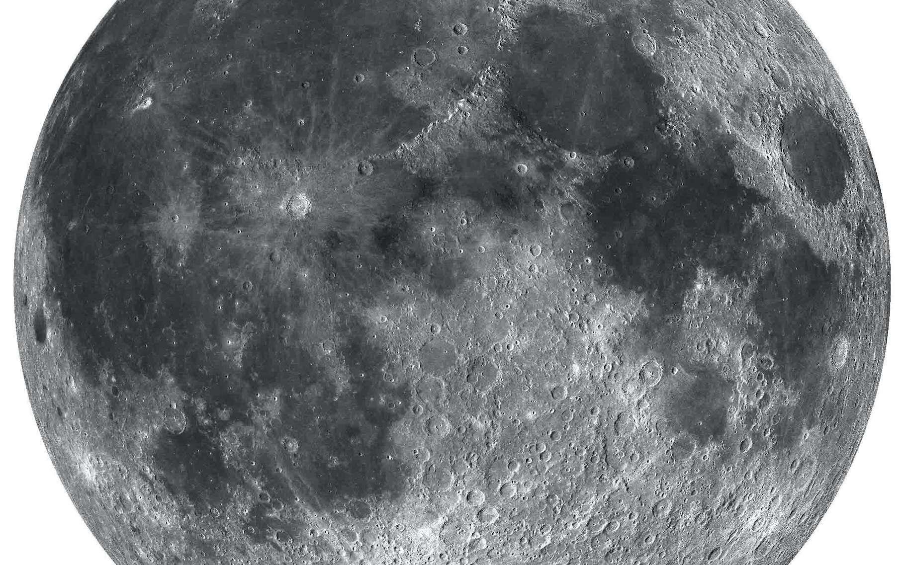 Des chercheurs de l'université d'Hawaï (États-Unis) ont trouvé de l'hématite du côté des pôles de la Lune. Une surprise ! © Shuai Li, université d'Hawaï