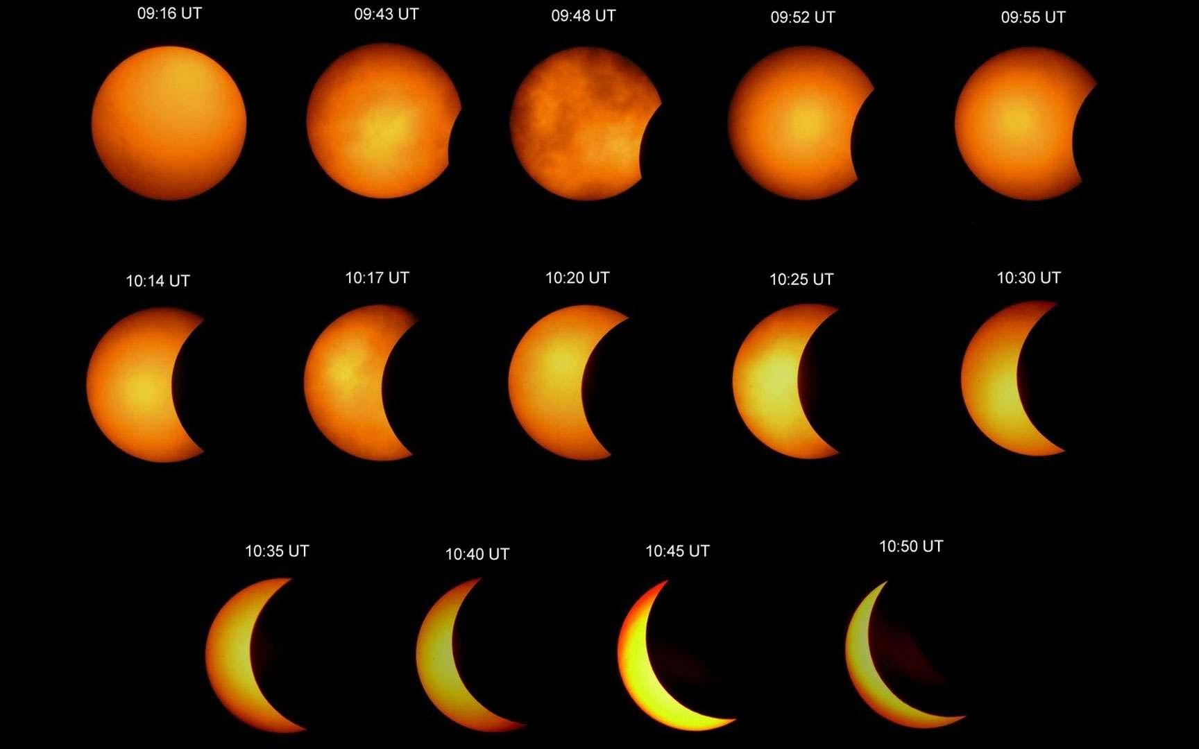 Eclipses solaires partielles. Le Soleil partiellement éclipsé par la Lune et un ballon. Source http://www.astromeyer.de/
