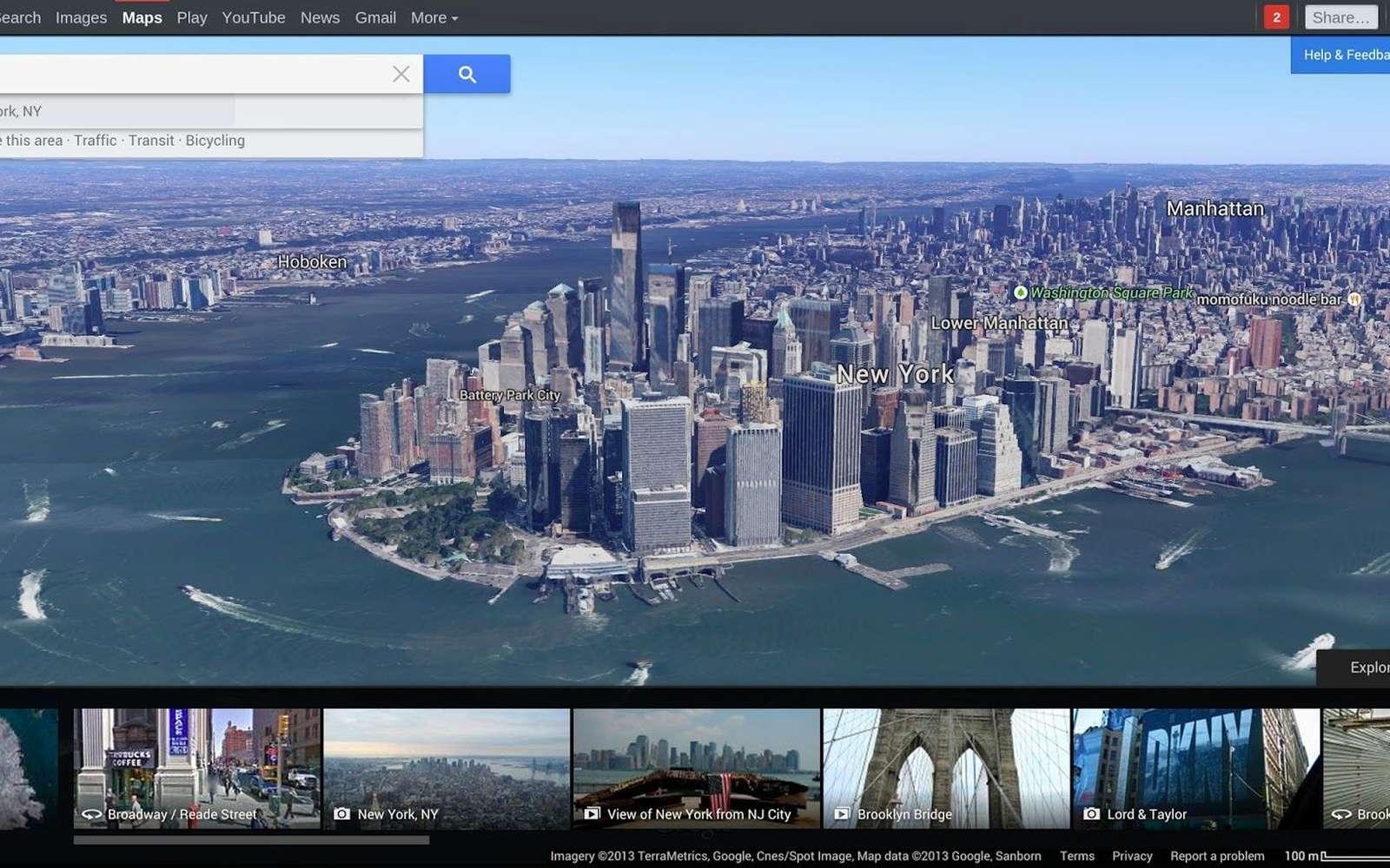 La nouvelle version de Google Maps affiche la carte ou des images sur tout l'écran, celui d'un ordinateur ou celui d'un smartphone. Sur les sites célèbres, comme ici New York, un carrousel peut présenter une collection de photographies. © Google