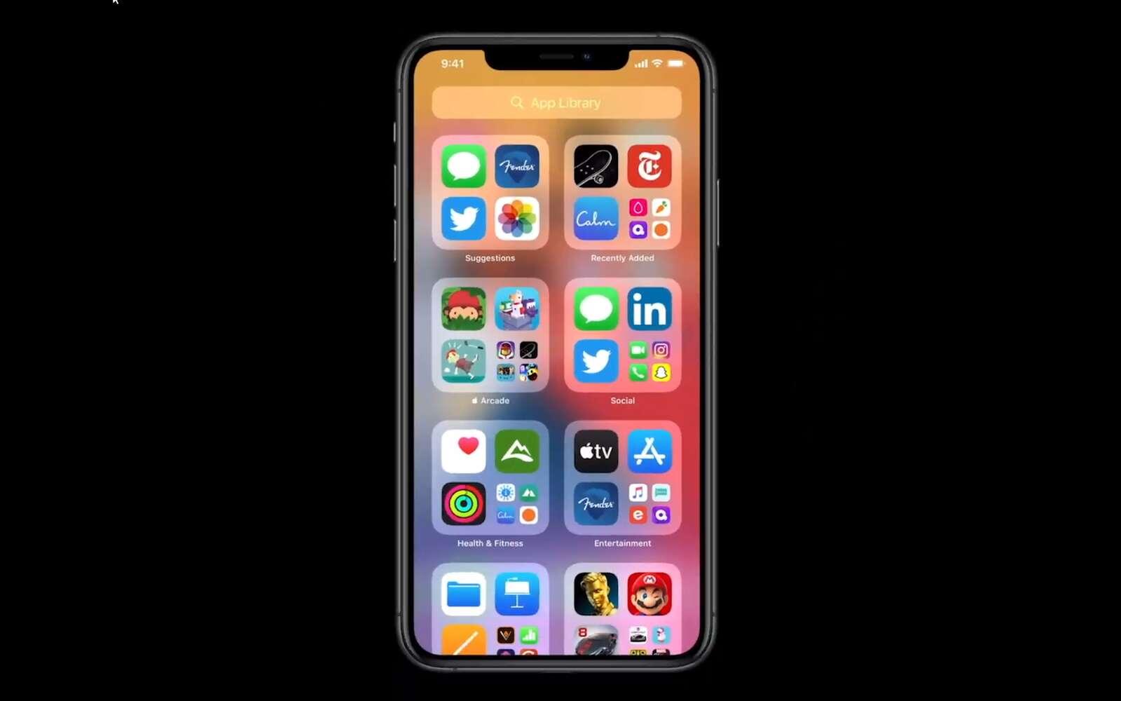 App Library permet automatiquement de ranger les applications en fonction de leurs catégories. © Apple