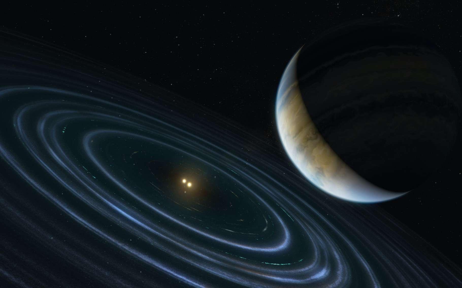 L'exoplanète baptisée HD 106906 b circule sur une orbite improbable autour d'une étoile double à 336 années-lumière de la Terre. Elle offre des indices sur celle que les astronomes appellent la « planète 9 » et qu'ils cherchent depuis plusieurs années aux confins de notre Système solaire. © M. Kornmesser, ESA