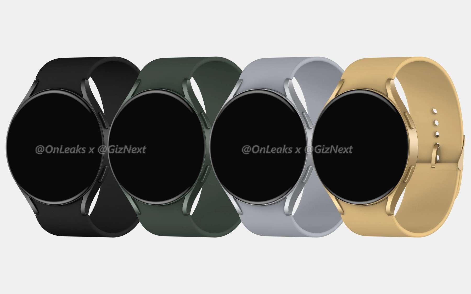 Un rendu de ce à quoi pourrait ressembler la nouvelle montre connectée Samsung Galaxy Watch 4. © OnLeaks et GizNext