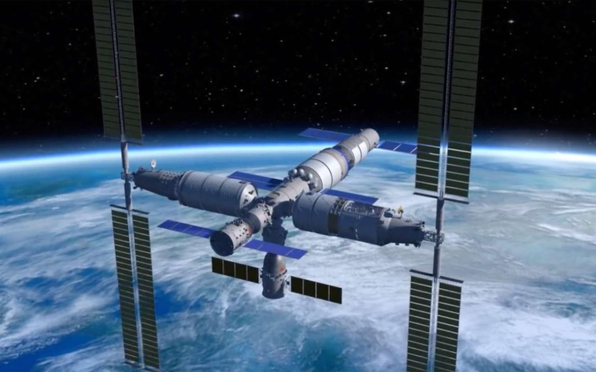 Vue d'artiste de la future station spatiale chinoise. Baptisée Palais céleste, sa mise en service complète est prévue en 2024. Le premier module, Tianhe, doit être lancé en 2020. © China Manned Space Agency