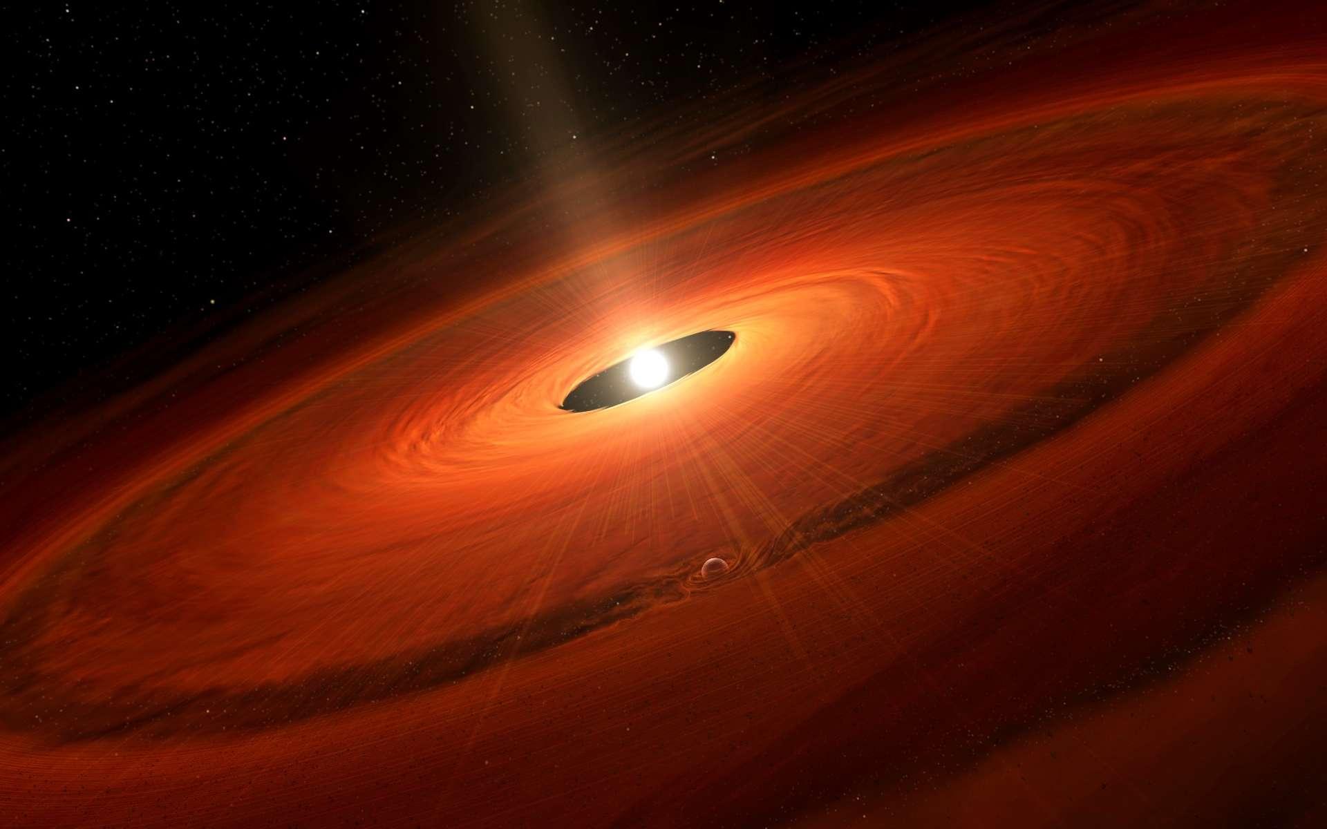 Une vue d'artiste d'une jeune étoile en phase T-Tauri avec deux jets de matière et entourée d'un disque protoplanétaire. On peut y voir la formation d'une exoplanète creusant une cavité dans ce disque de gaz et de poussières. © NAOJ