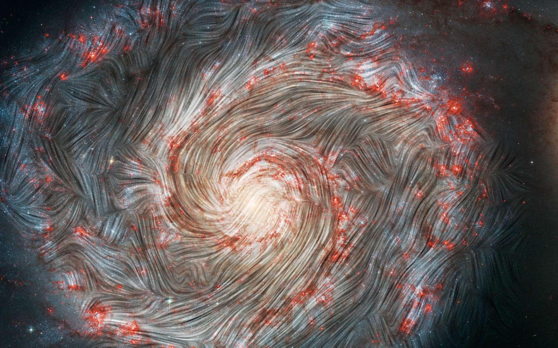 Les lignes de champ magnétique de la galaxie du tourbillon ne suivent pas sa structure en spirale. ©Nasa, the SOFIA science team, A. Borlaff; Nasa, ESA, S. Beckwith (STScI), the Hubble Heritage Team (STScI/AURA)