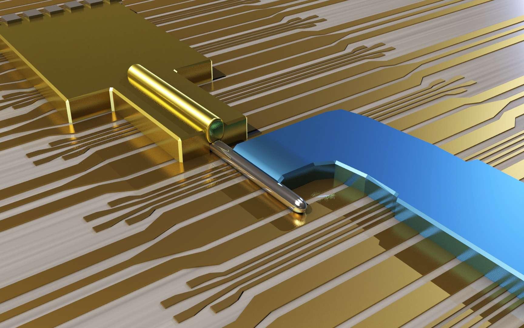 Une représentation d'un transistor où les physiciens ont provoqué la naissance de « quasi-particules » décrites par la théorie des fermions de Majorana. Le nanofil en antimoniure d'indium est recouvert d'or et connecté à une électrode supraconductrice (en bleu). Un dispositif similaire a été réalisé pour étudier l'effet de la décohérence sur ces fermions. © TU Delft 2012