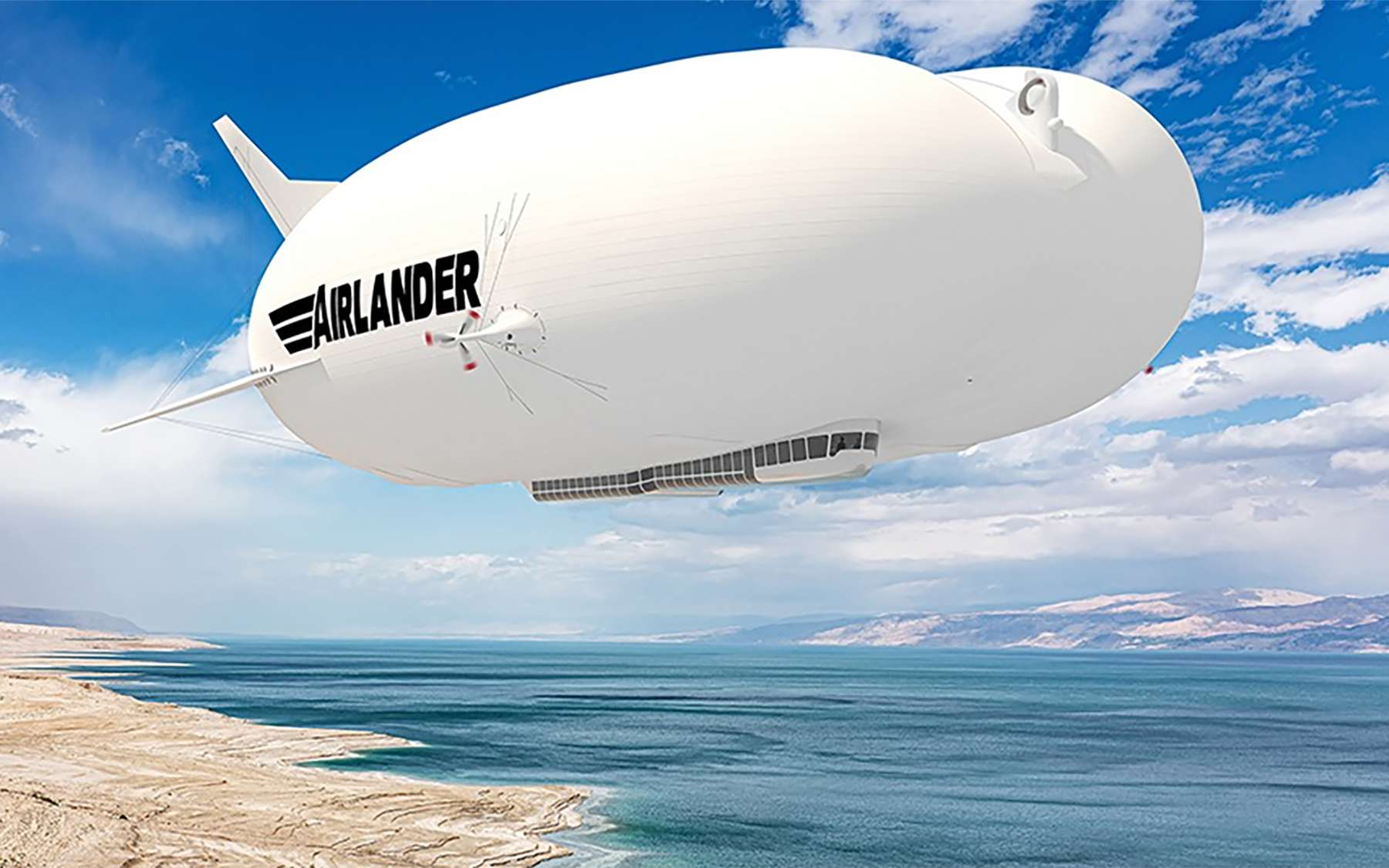 Vue d'artiste de l'Airlander-10, un projet d'avion-dirigeable. © Hybrid Air Vehicles