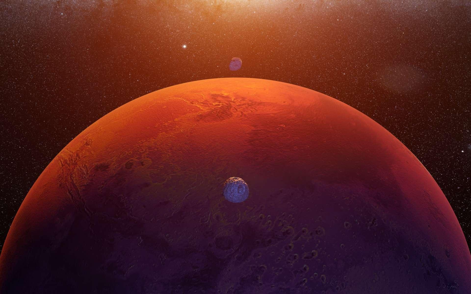 Illustration et de ses deux lunes, Phobos et Deimos. © dottedyeti, Adobe Stock