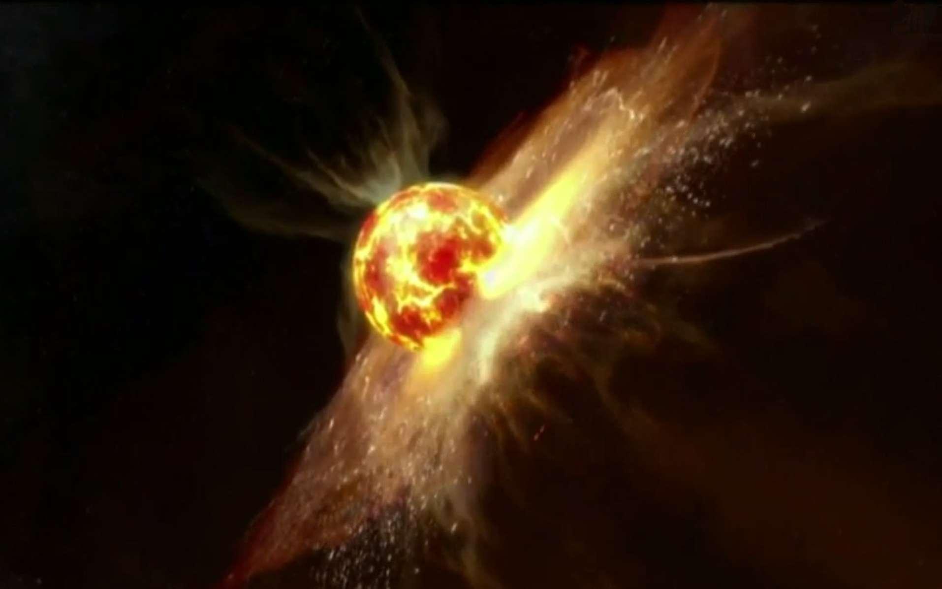 La planète la plus proche du jeune Soleil est victime d'une terrible collision. Une grande partie de la matière des deux corps sera éjectée, ne laissant qu'un noyau incandescent. Mercure prendra alors, aux cratères près, le visage qu'elle a aujourd'hui. © Discovery Science