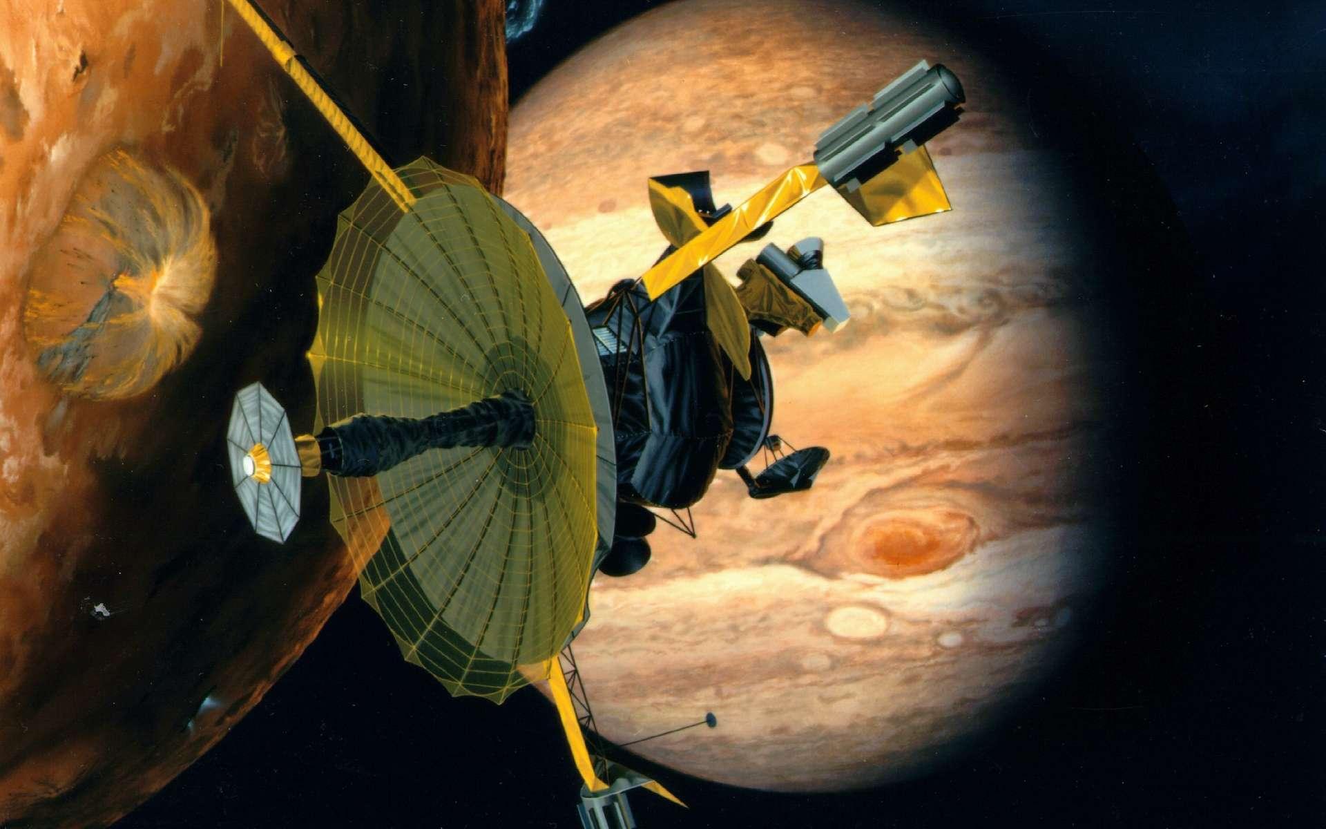Galileo est lancée le 18 octobre 1989 par la navette spatiale américaine Atlantis. Après un voyage de six ans, au cours duquel elle a recours à l'assistance gravitationnelle de la Terre à deux reprises et à celle de Vénus, la sonde se place en orbite autour de Jupiter le 7 décembre 1995. Elle circule sur une orbite de deux mois qu'elle parcourt à 35 reprises au cours de la phase scientifique de la mission et qui s'achève après plusieurs prolongations en 2003. Au cours de son voyage vers Jupiter, Galileo effectue un survol rapproché des astéroïdes (951) Gaspra et (243) Ida, et découvre une lune autour de ce dernier, Dactyl. © Nasa, DP