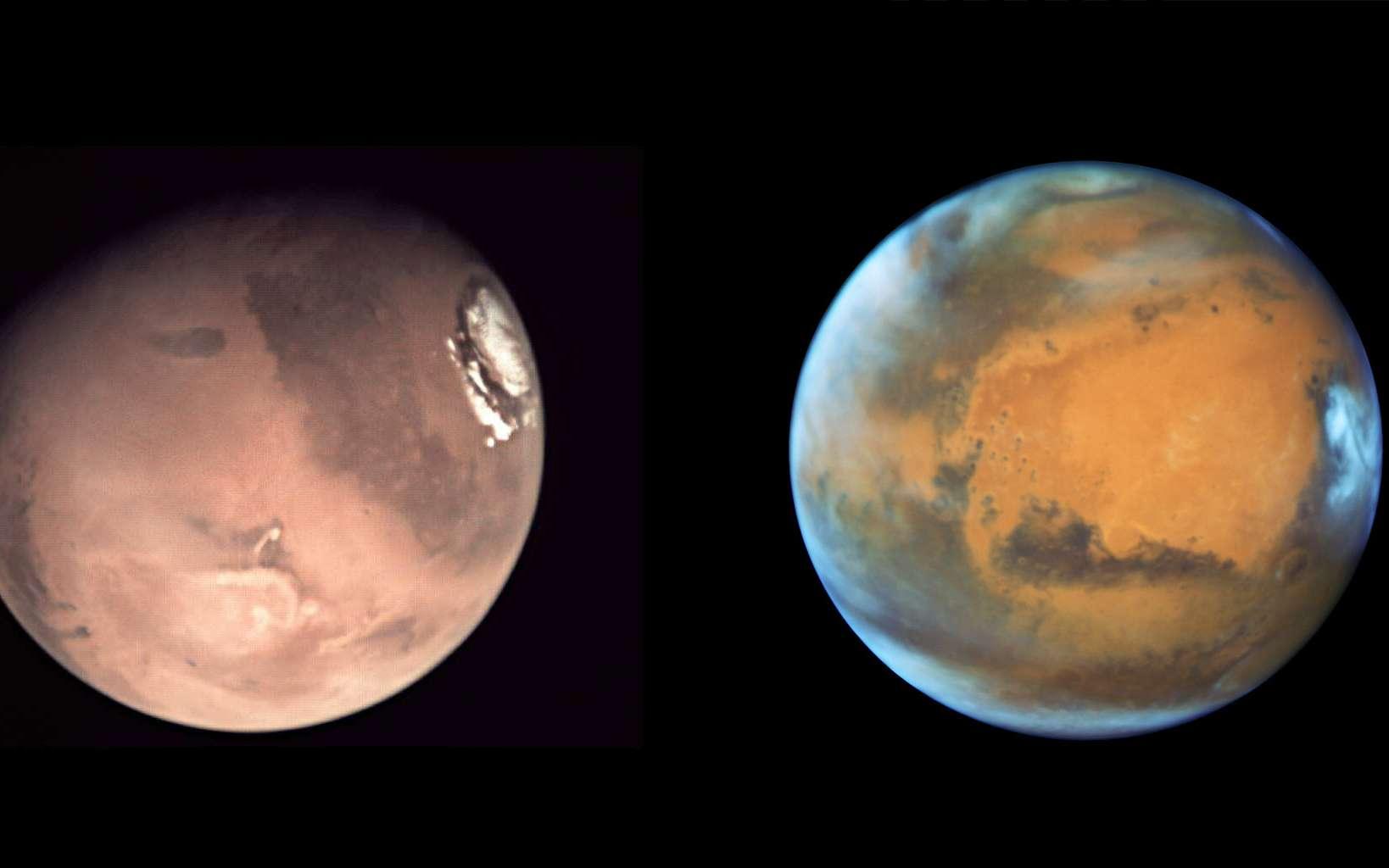 Deux images de Mars acquises en mai 2016, celle de gauche par le télescope spatial Hubble, alors situé à près de 76 millions de kilomètres de la Planète rouge, et celle de droite par une petite caméra de la sonde Mars Express, alors située à plusieurs centaines de kilomètres du sol martien. © Esa, Nasa