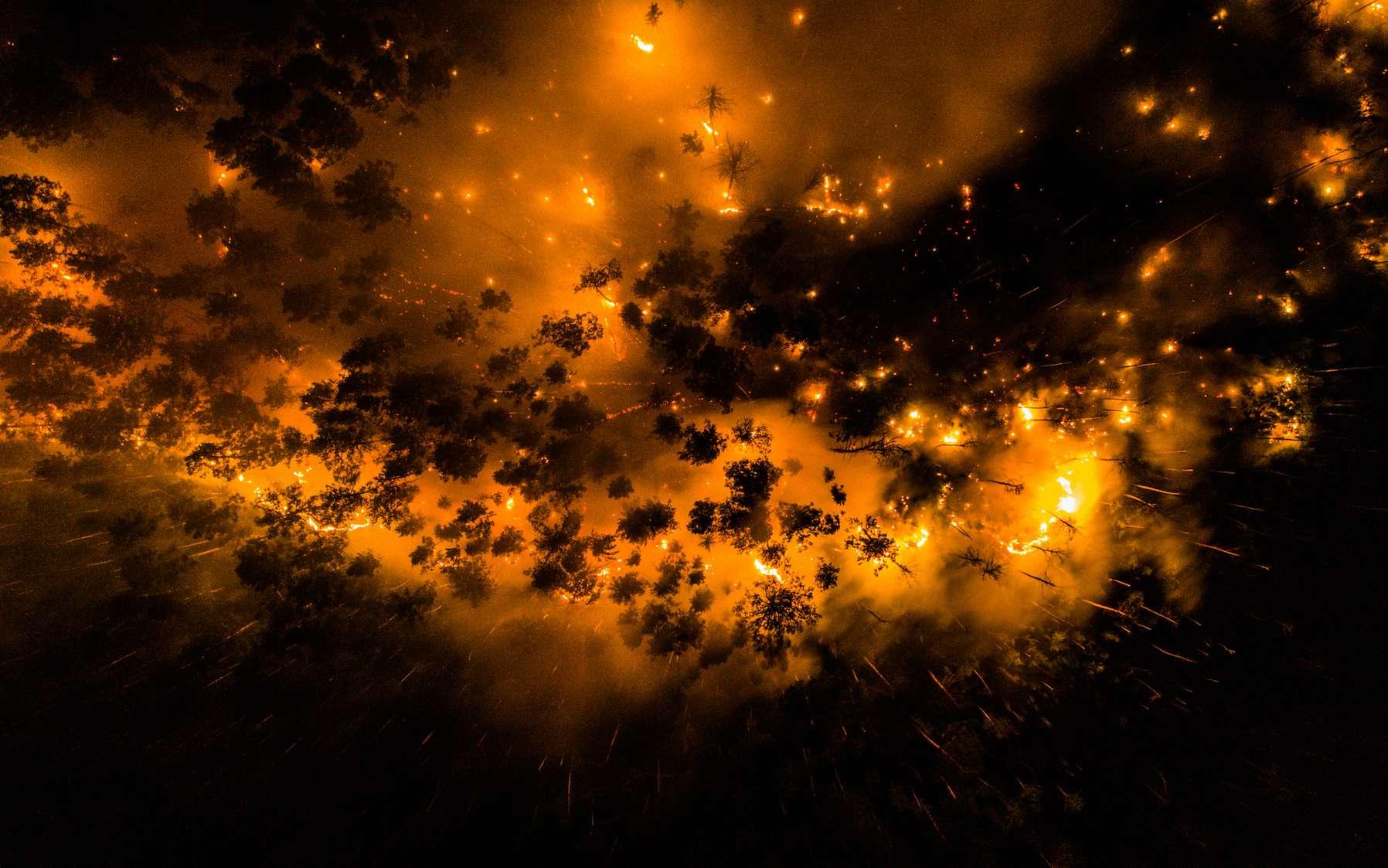 Photo de la forêt en feu prise par drone le 16 juillet 2020 dans la forêt de Krasnoïarsk. © Greenpeace