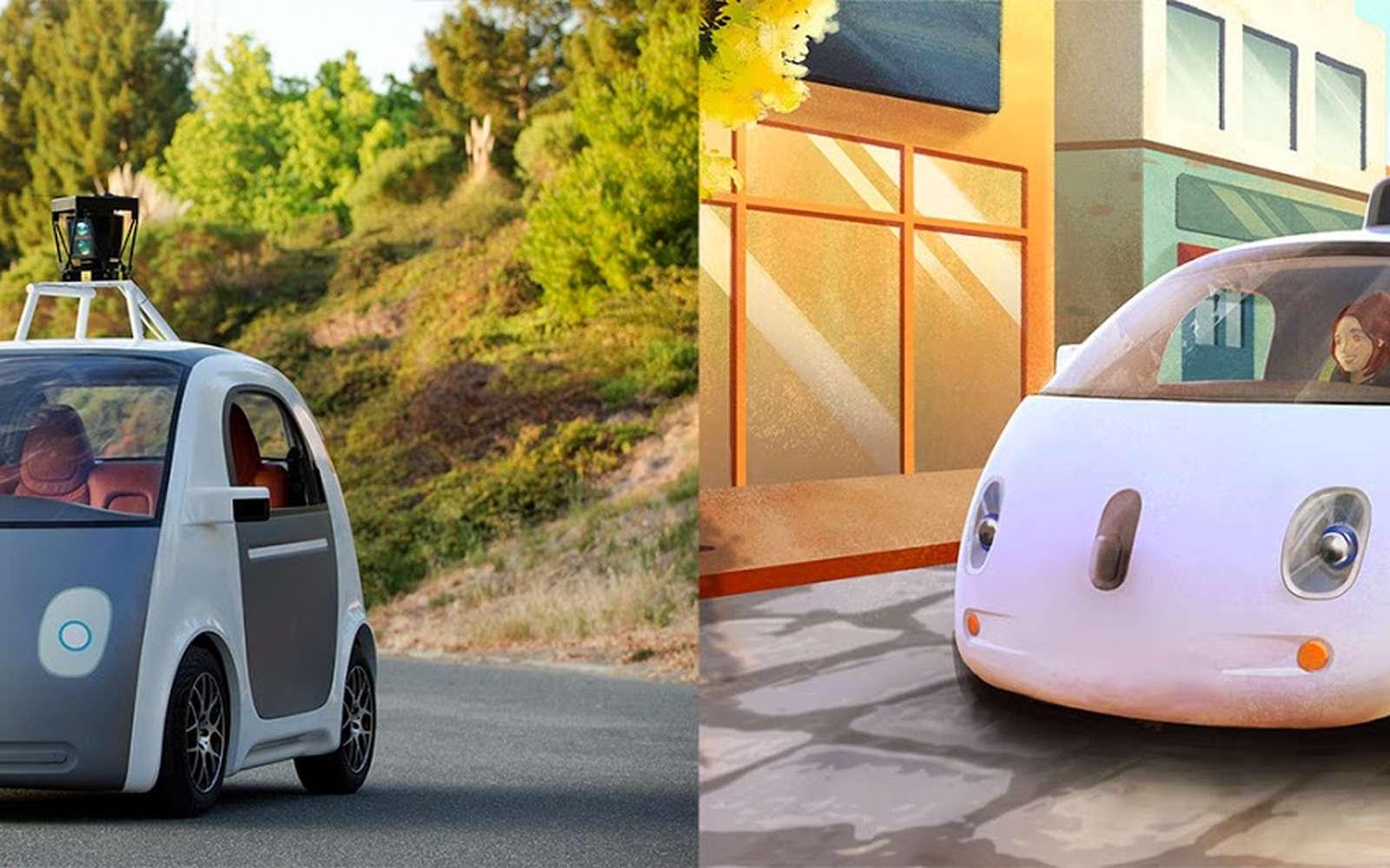 La voiture autonome de Google a été présentée en mai dernier (ici à gauche) mais la forme extérieure n'était qu'une maquette. À droite, un dessin de ce à quoi elle pourrait ressembler. Google ne prévoit ni volant, ni pédales mais la législation imposeront peut-être des commandes pour que le passager puisse redevenir conducteur. © Google