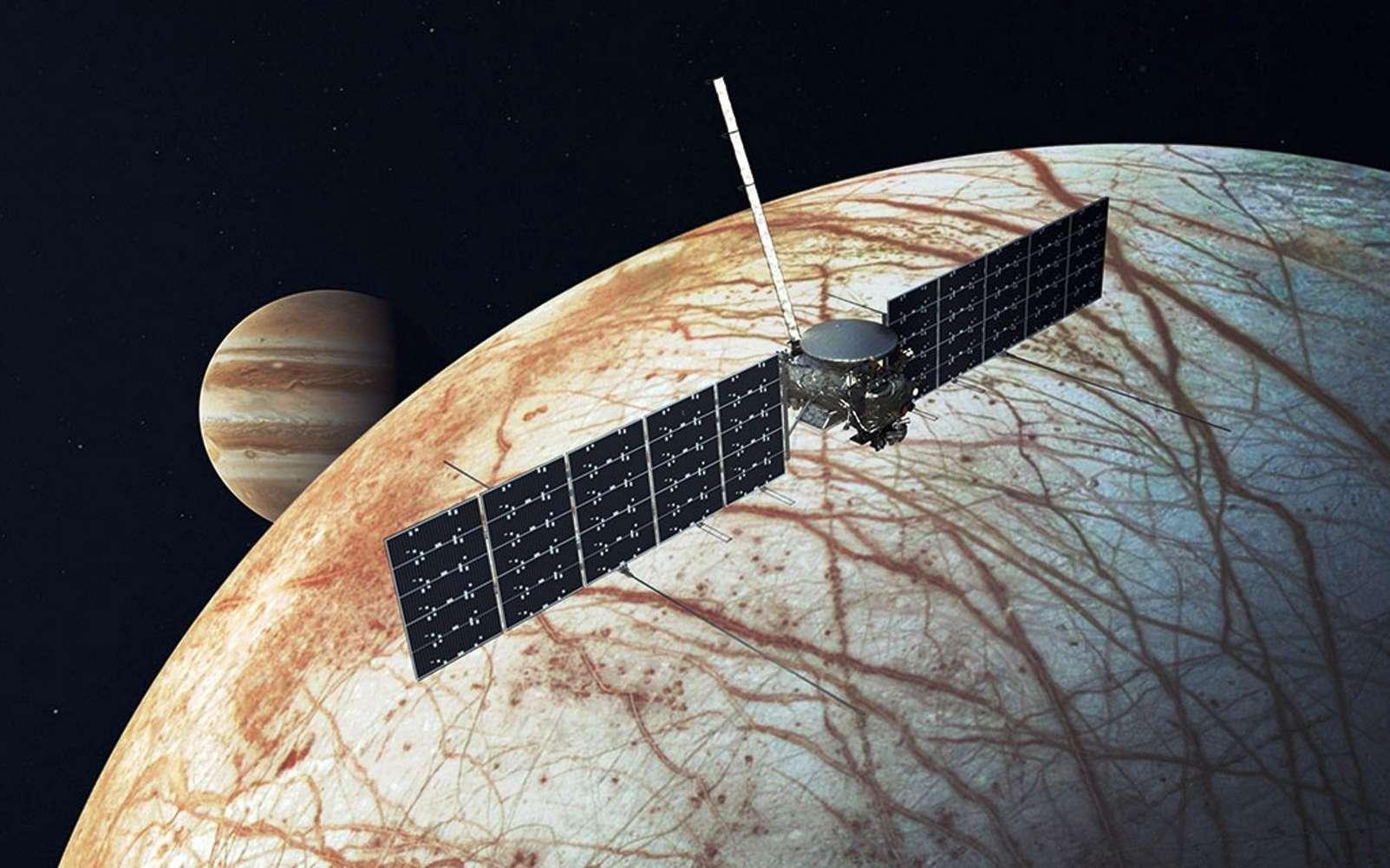 Cette illustration représente le vaisseau spatial Europa Clipper de la Nasa. La mission, qui vise un lancement en 2024, examinera si la lune de Jupiter, Europe, et son océan interne ont des conditions propices à la vie. © Nasa, JPL-Caltech
