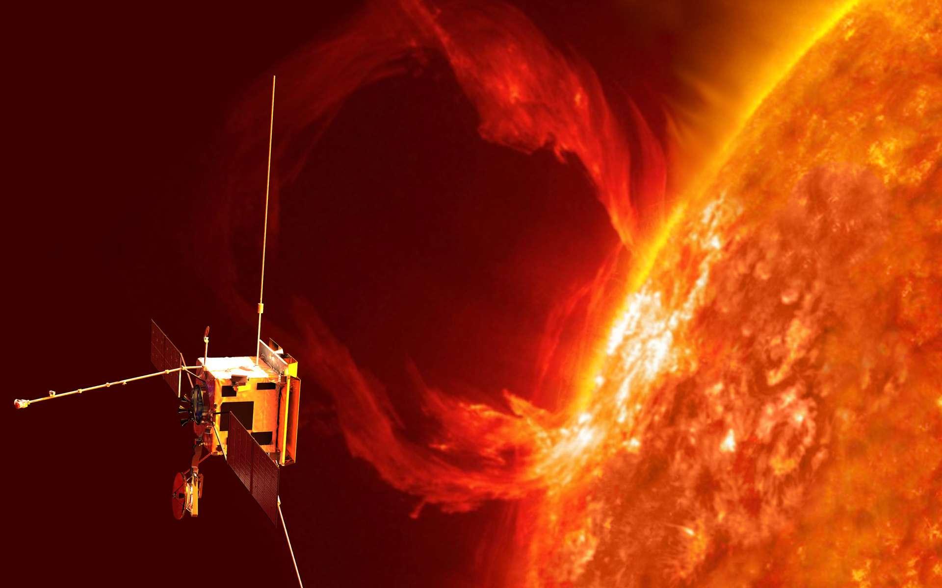 Vue d'artiste de Solar Orbiter. À ce jour, le record de distance à proximité du Soleil est détenu par la sonde Helios (Nasa) qui s'en était approché à 43,5 millions de km en avril 1976. Même si elle le dépasse, celui de Solar Orbiter ne tiendra pas longtemps. Le record sera en effet pulvérisé en 2024 par Solar Probe Plus de la Nasa, laquelle devrait s'en approcher à seulement 6,3 millions de km ! © ESA, AOES
