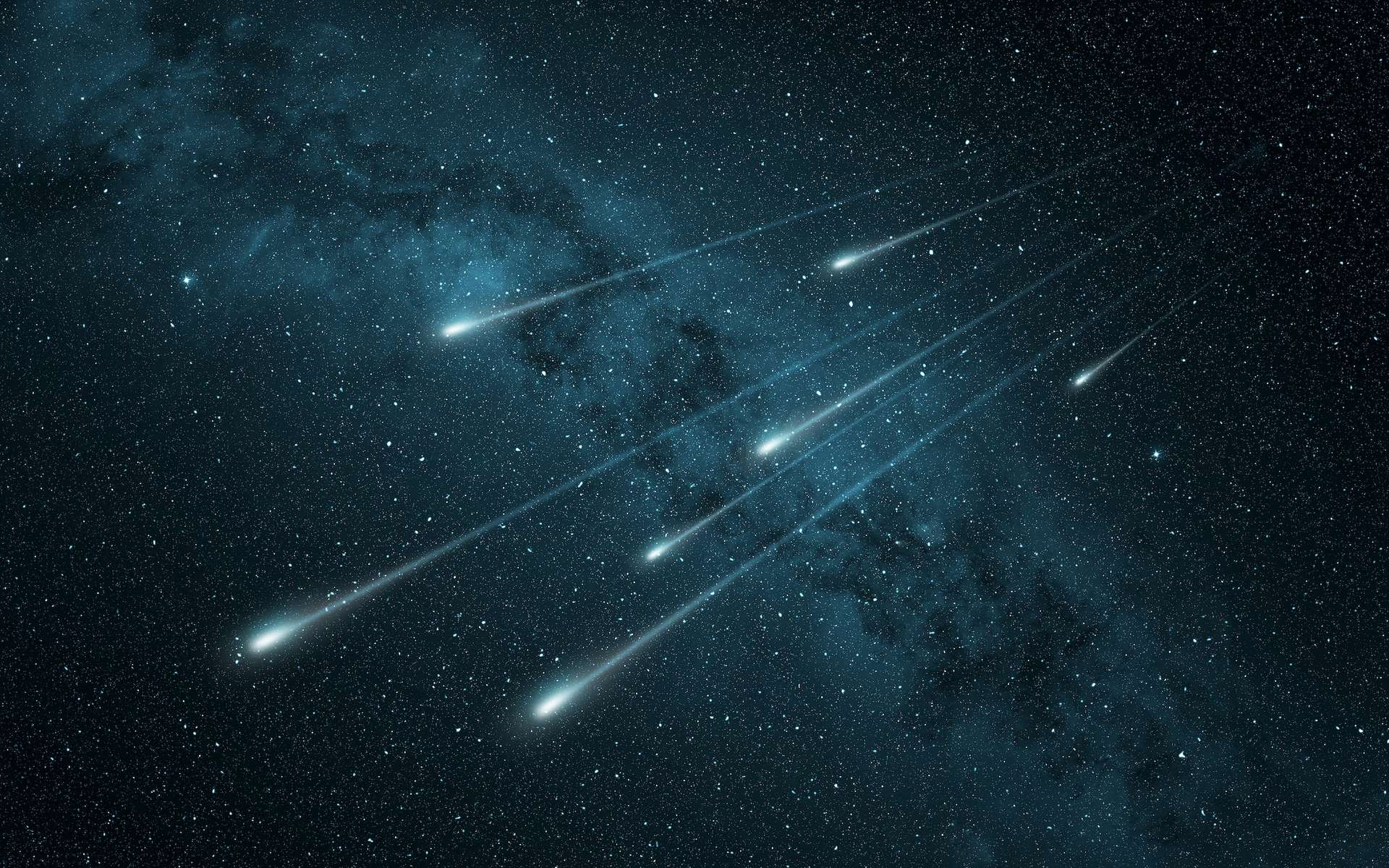 Photo composite d'une pluie d'étoiles filantes. © Paulista, Adobe Stock