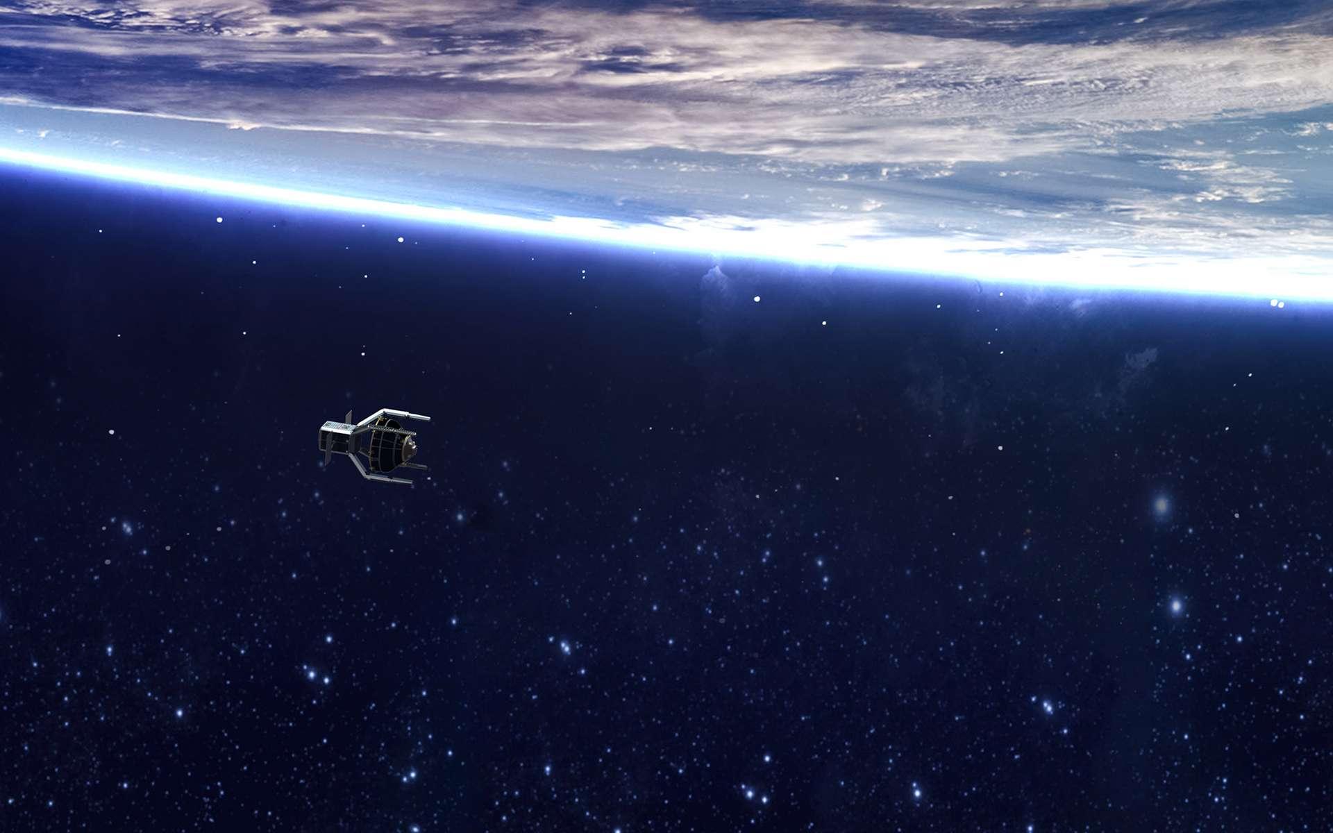 Vue d'artiste du satellite CleanSpace-1 après avoir capturé le Vesta du lanceur Vega. © ESA