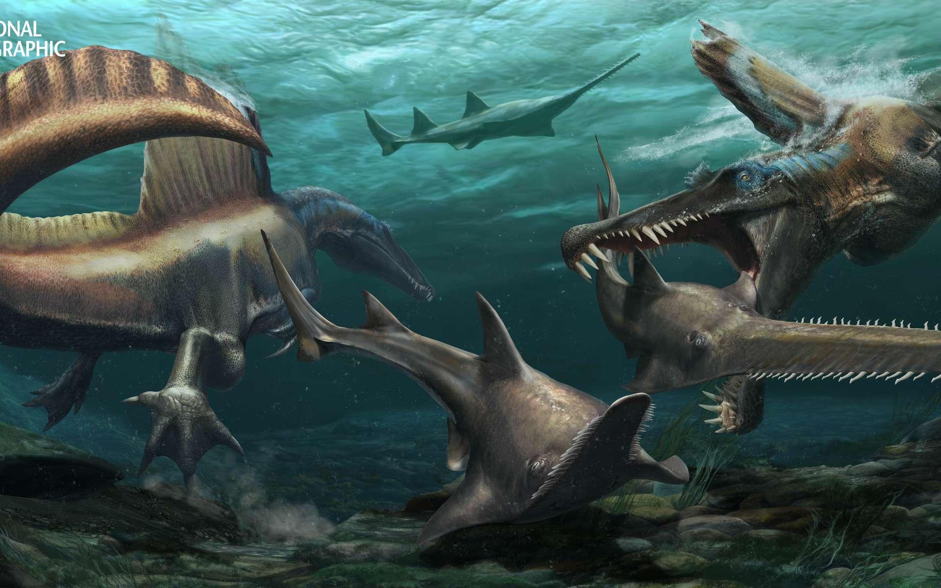 Deux gigantesques Spinosaurus chassant des Onchopristis, un poisson-scie préhistorique. © Davide Bonadonna