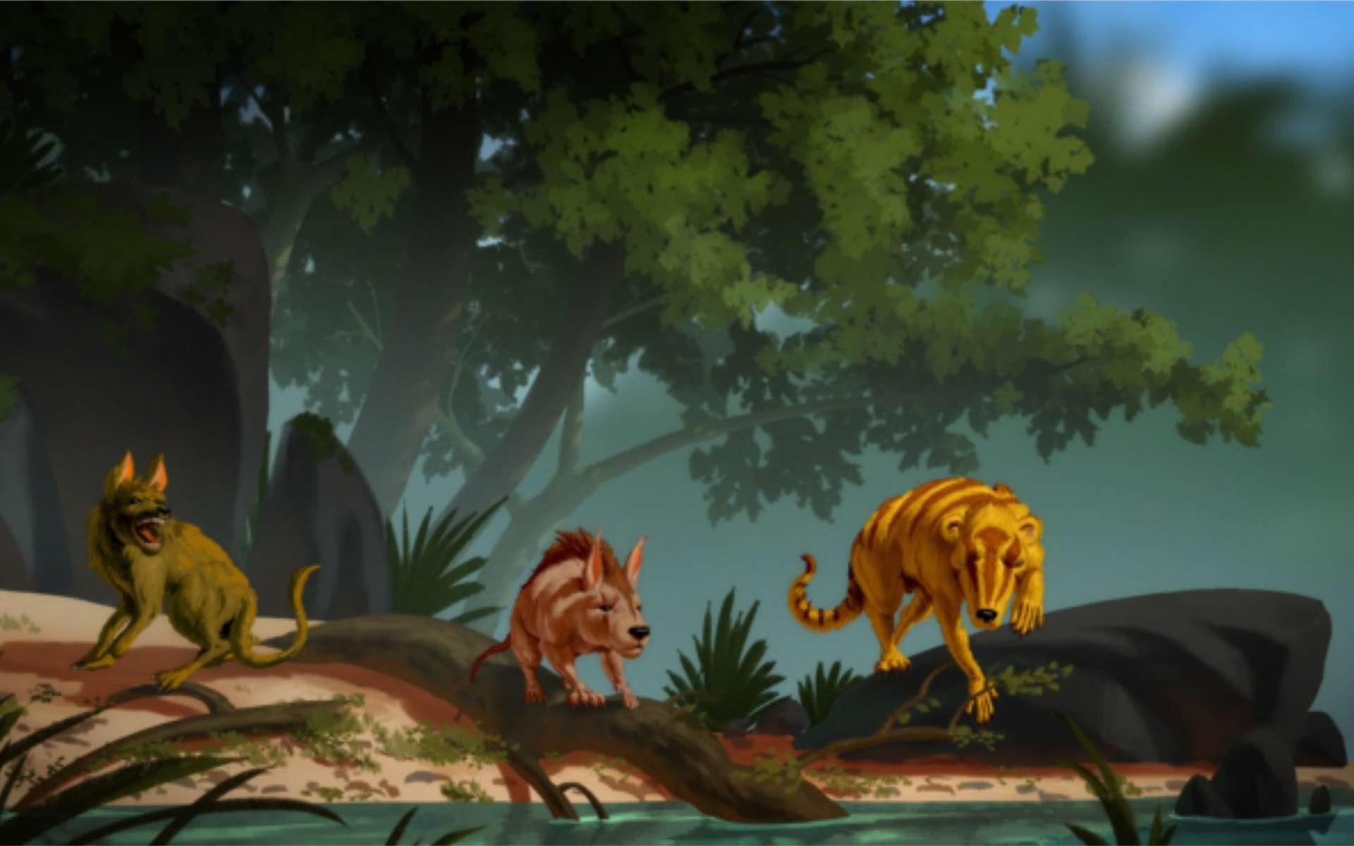 Vue d'artiste de trois nouvelles espèces de mammifères du Paléogène. De gauche à droite : Conacodon hettingeri, Miniconus jeanninae et Beornus honeyi. © Banana Art Studio