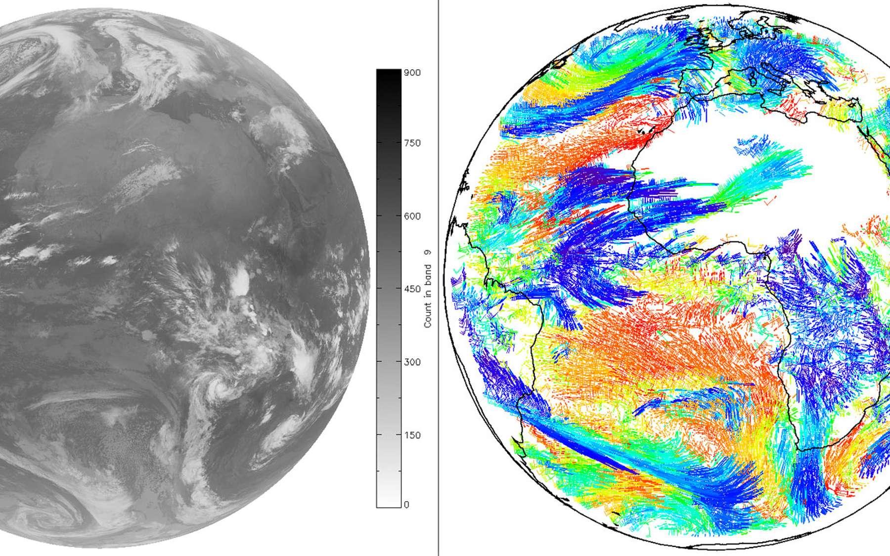 À gauche, une image acquise par l'instrument Seviri à bord du satellite géostationnaire Meteosat de seconde génération, le 5 janvier 2014. À droite, les vents dérivés à partir de cette image, les couleurs représentant l'altitude du vecteur vent. © Eumetsat